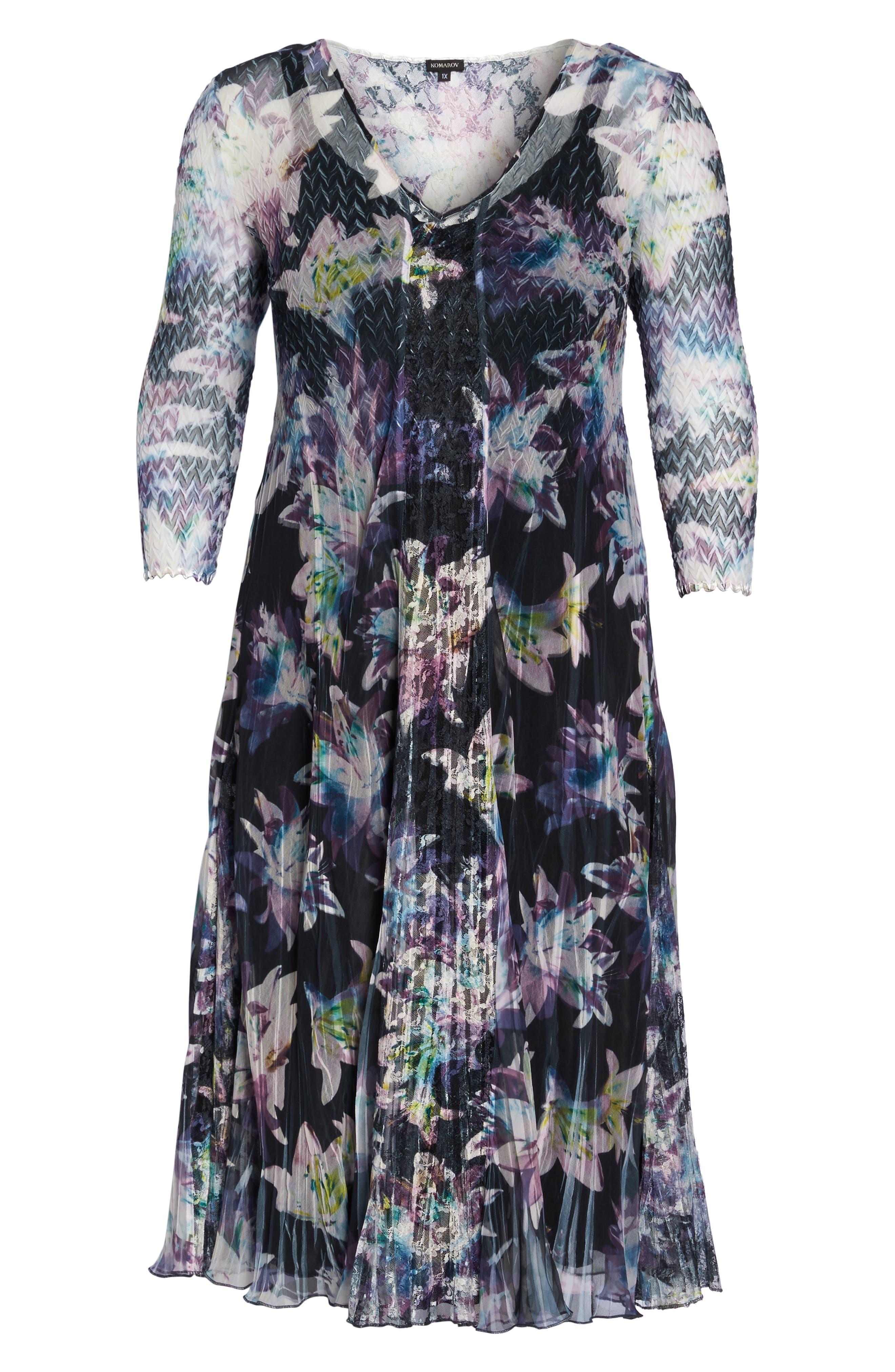 Alternate Image 6  - Komarov Floral Charmeuse & Chiffon A-Line Dress (Plus Size)