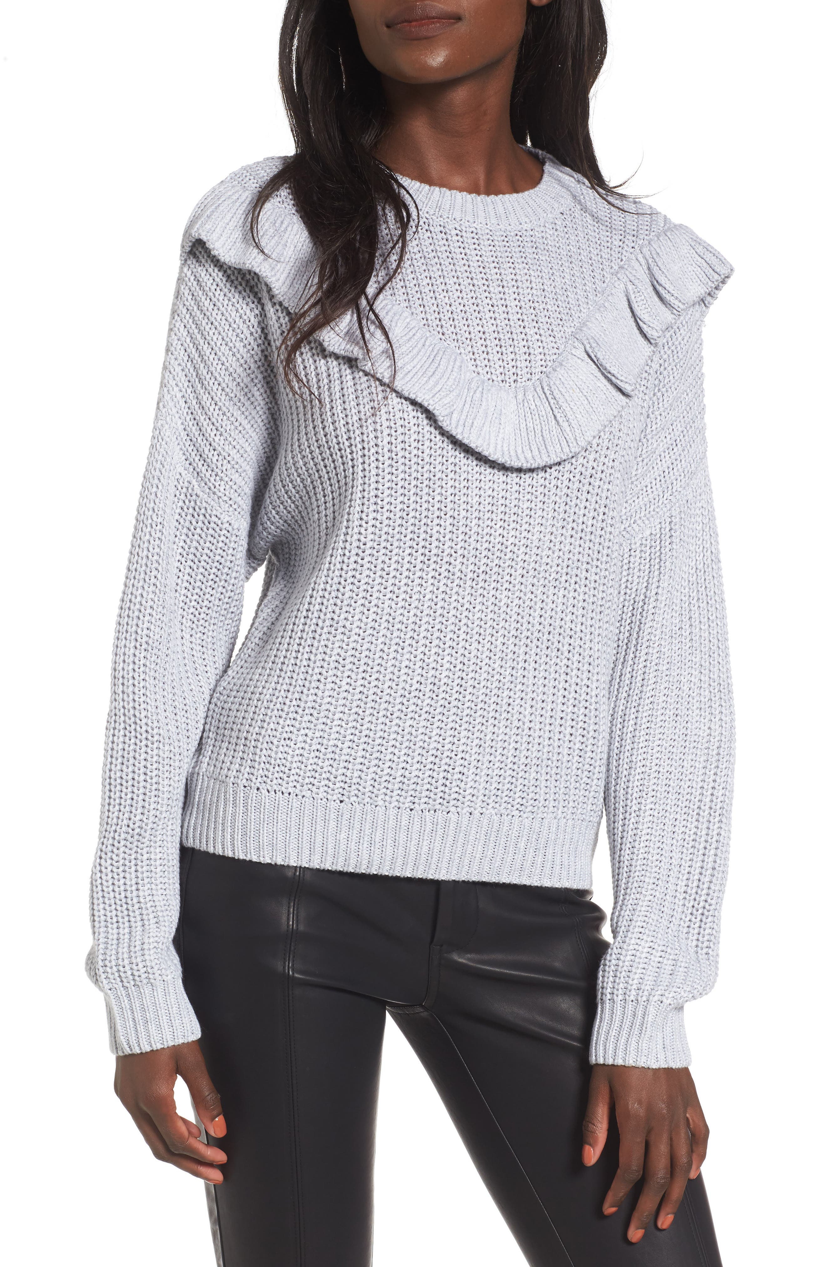 Alternate Image 1 Selected - BLANKNYC Ruffle Yoke Sweater