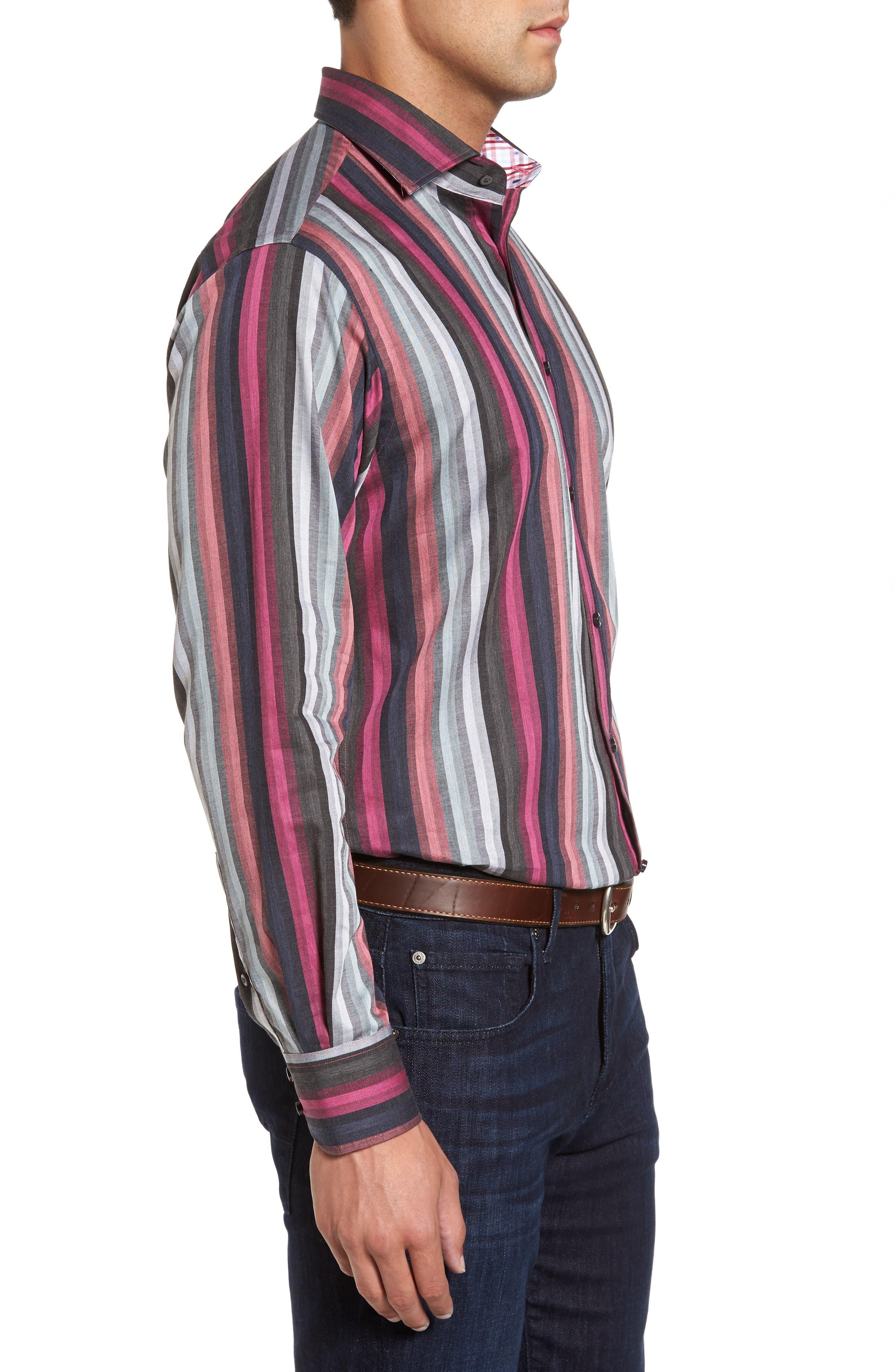 Regular Fit Multicolor Stripe Herringbone Sport Shirt,                             Alternate thumbnail 3, color,                             Pink