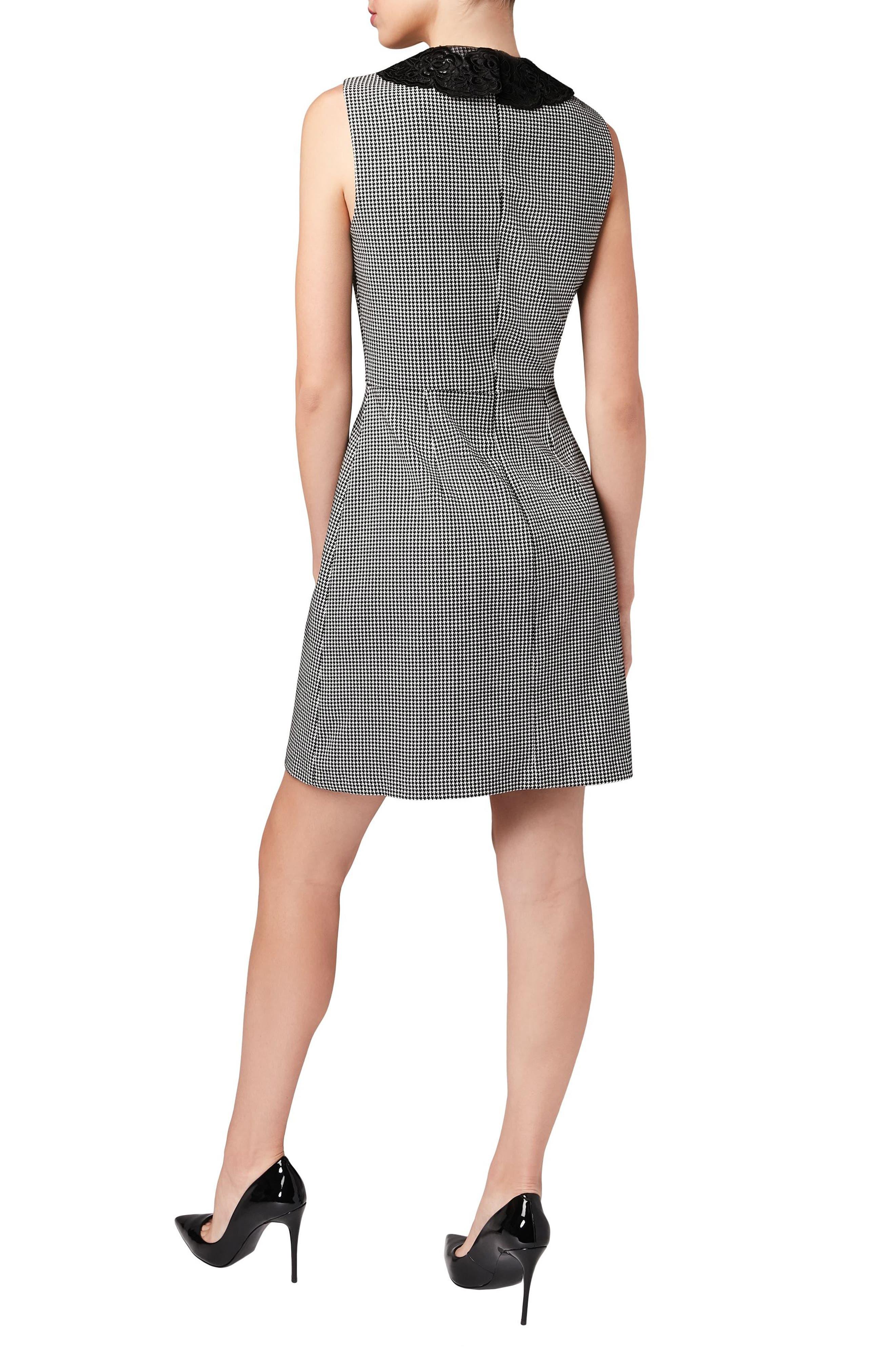 Lace Collar Shift Dress,                             Alternate thumbnail 2, color,                             Black/ White