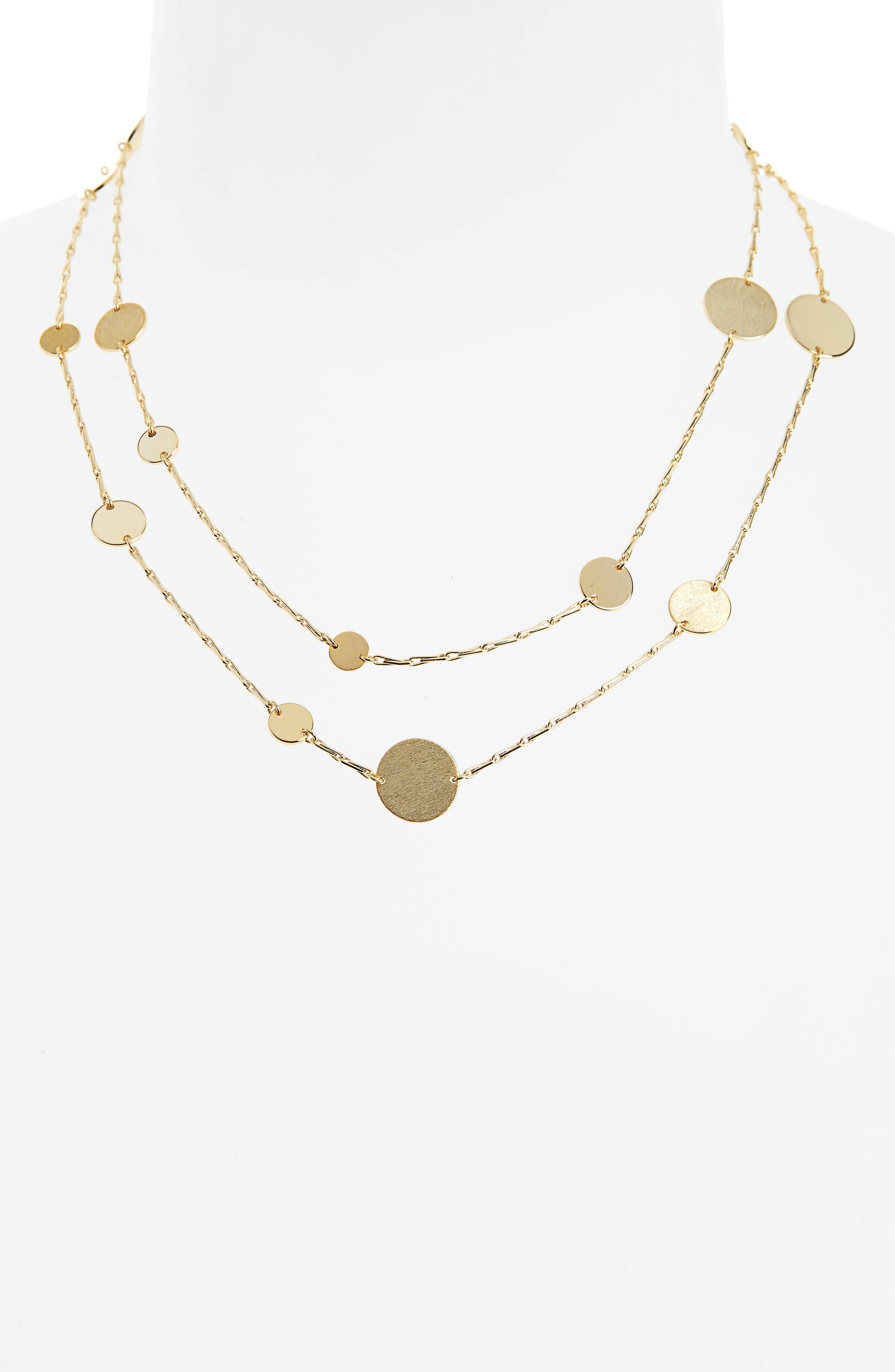 Long Disc Multistrand Necklace,                             Alternate thumbnail 2, color,                             Gold