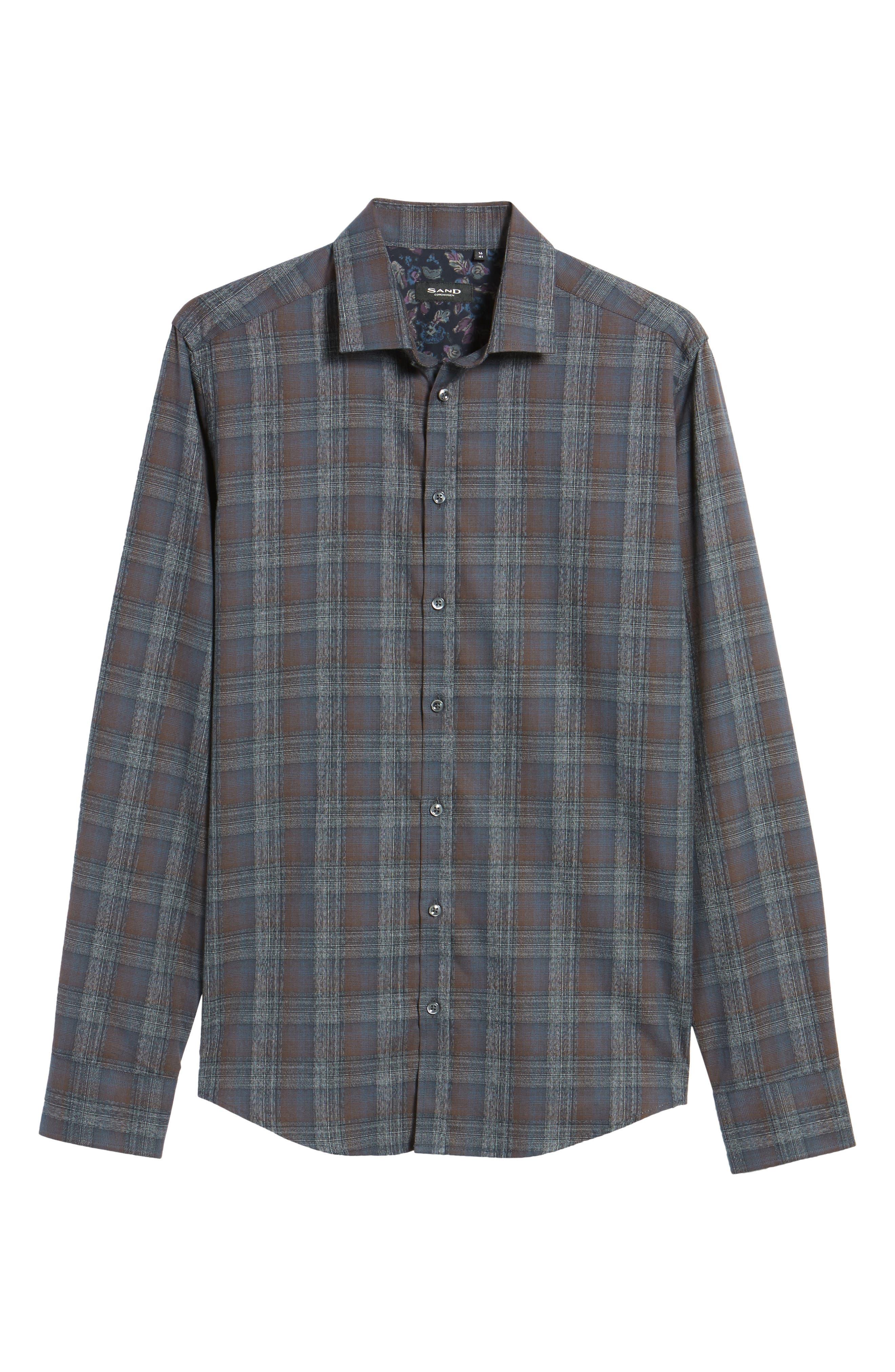 Trim Fit Plaid Sport Shirt,                             Alternate thumbnail 5, color,                             290 Brown Grey Plaid