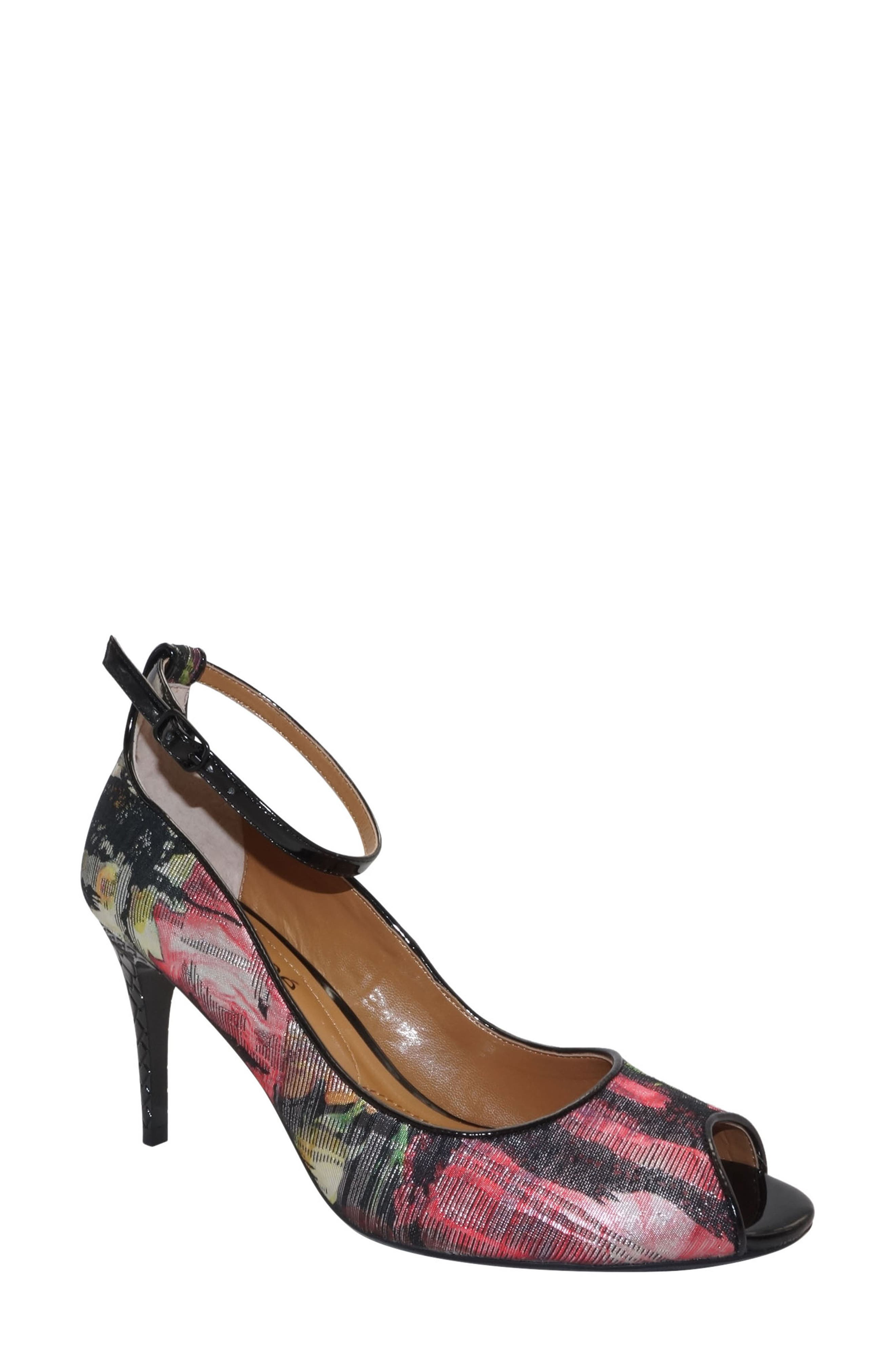 Raspalli Ankle Strap Peep Toe Pump,                         Main,                         color, Red/ Black Multi