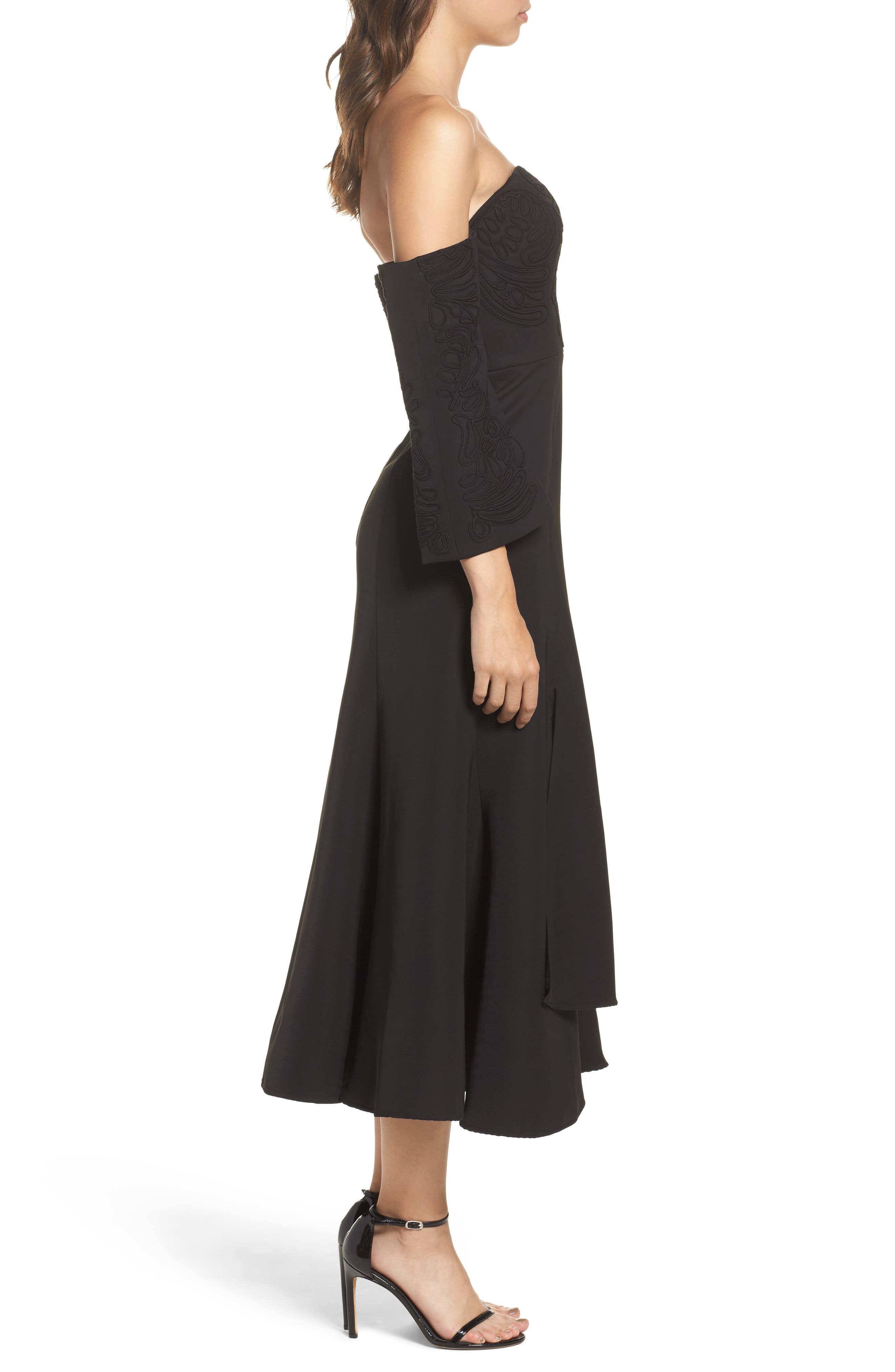 Paradise Off the Shoulder Midi Dress,                             Alternate thumbnail 3, color,                             Black