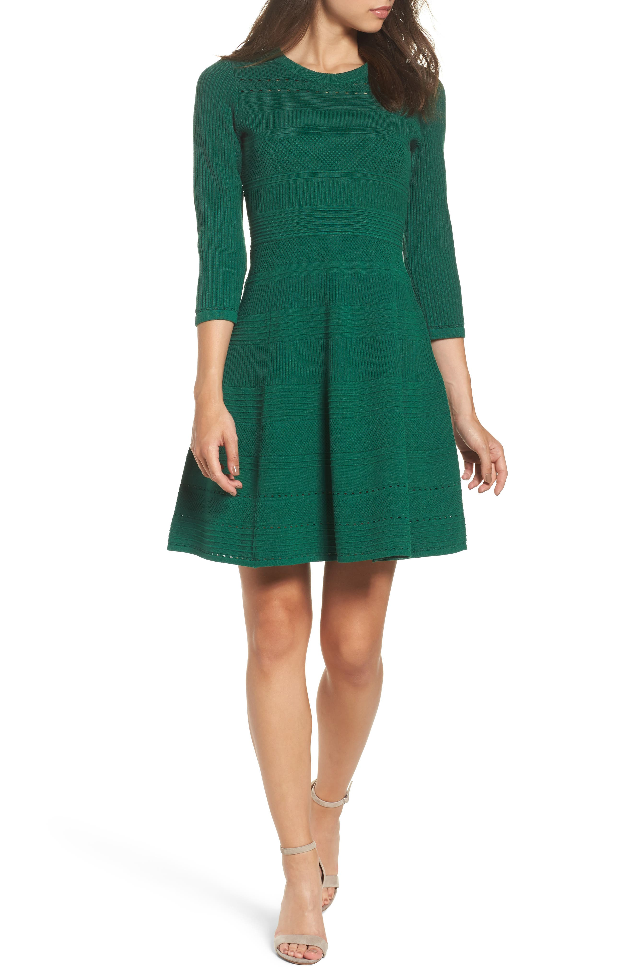 Fit & Flare Sweater Dress,                         Main,                         color, Pine