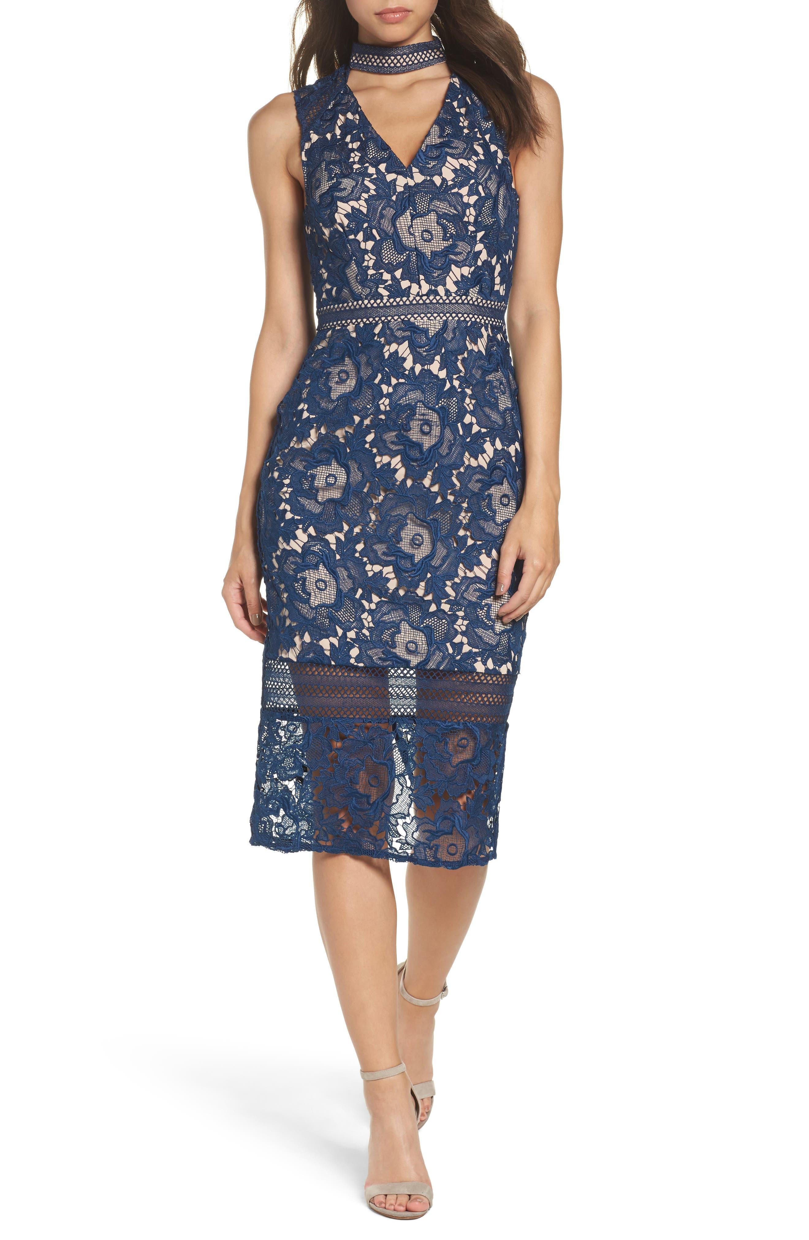 Alessandra Lace Choker Midi Dress,                         Main,                         color, Navy