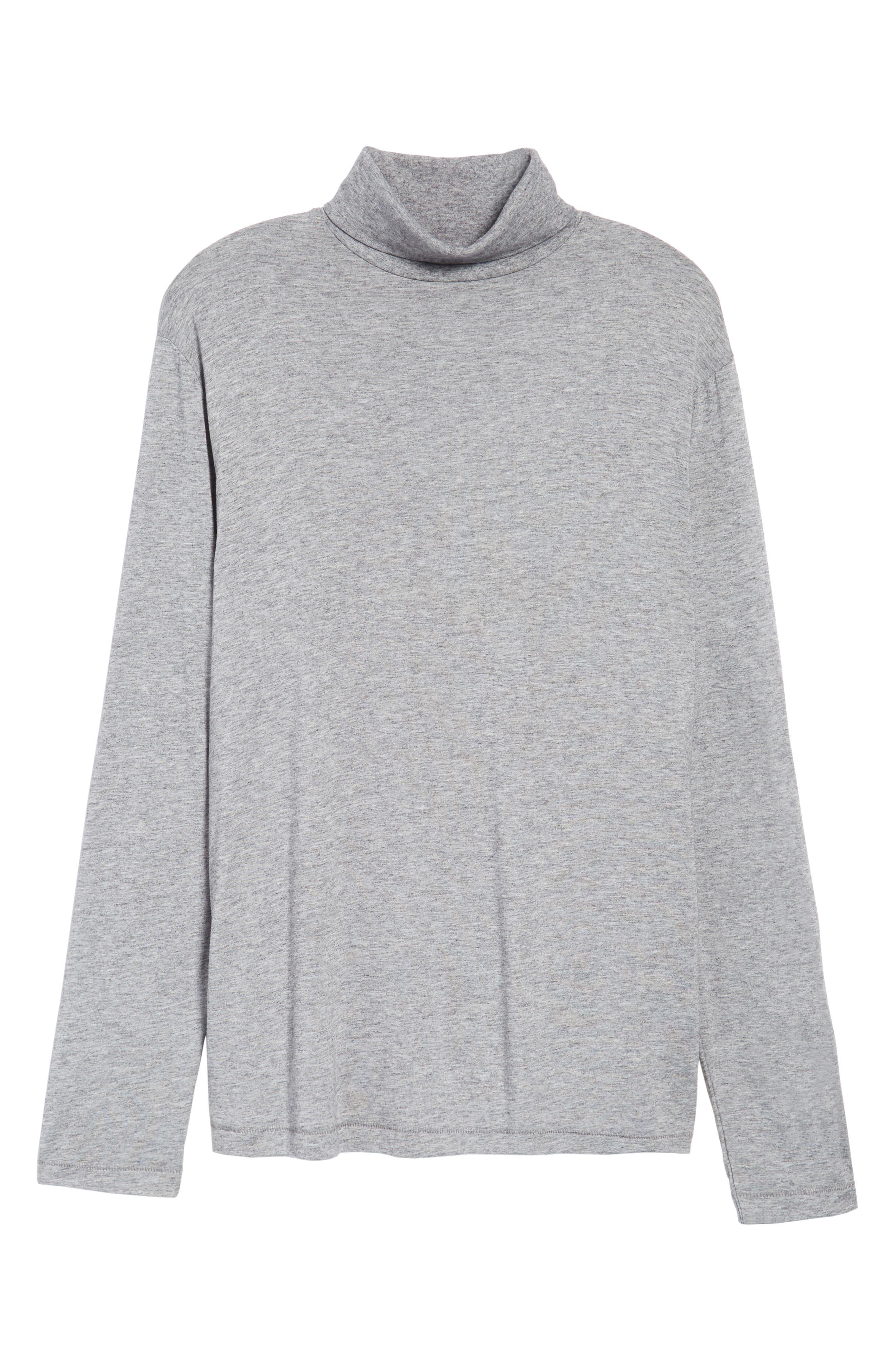 Lightweight Turtleneck Sweater,                             Alternate thumbnail 6, color,                             Grey Melange