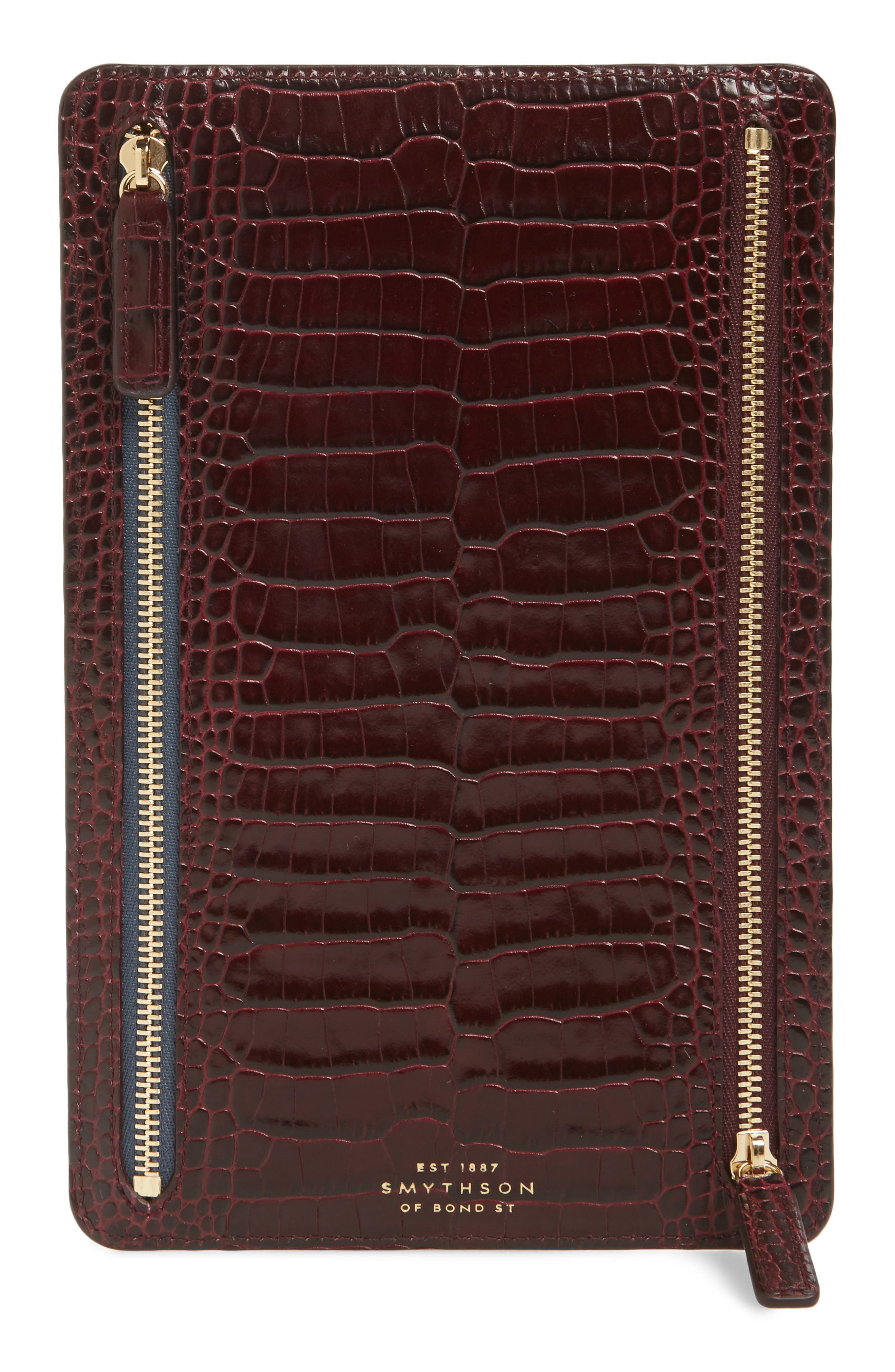 Smythson Mara Leather Zip Currency Case