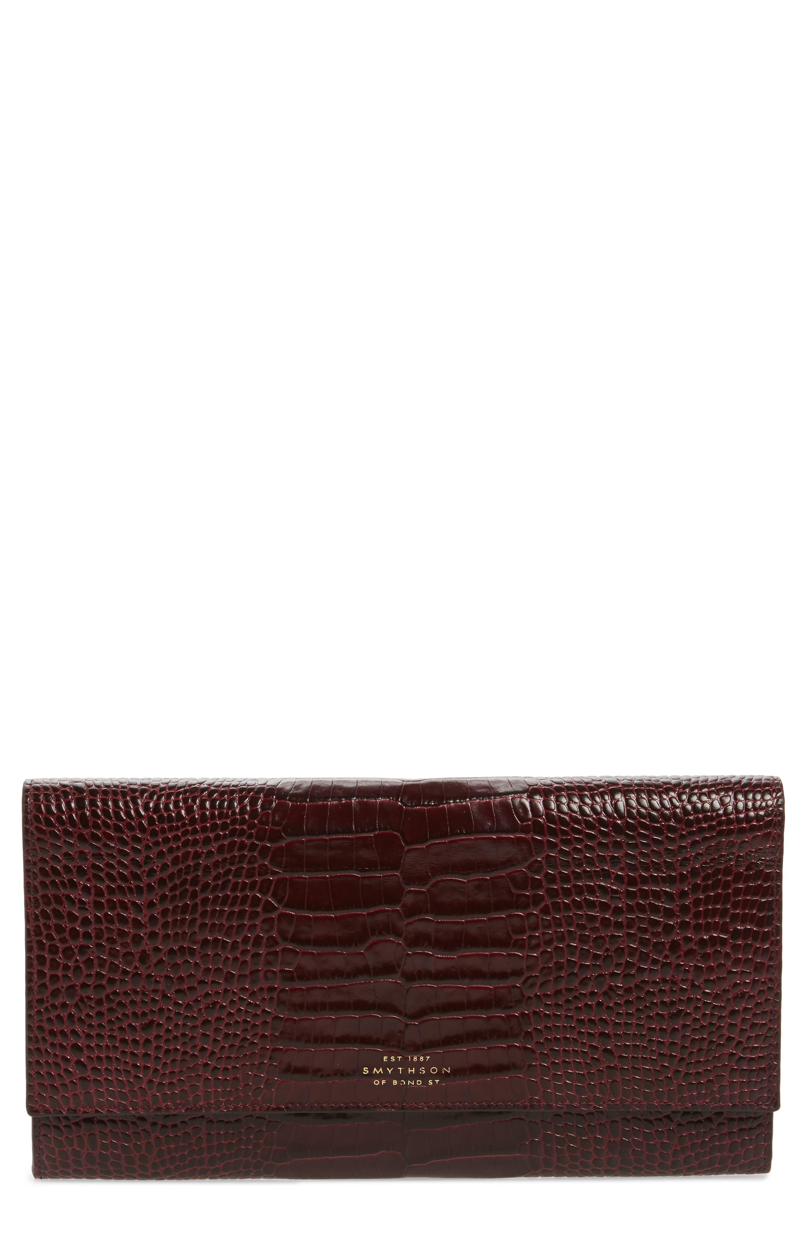 Smythson Mara Marshall Croc Embossed Leather Travel Wallet