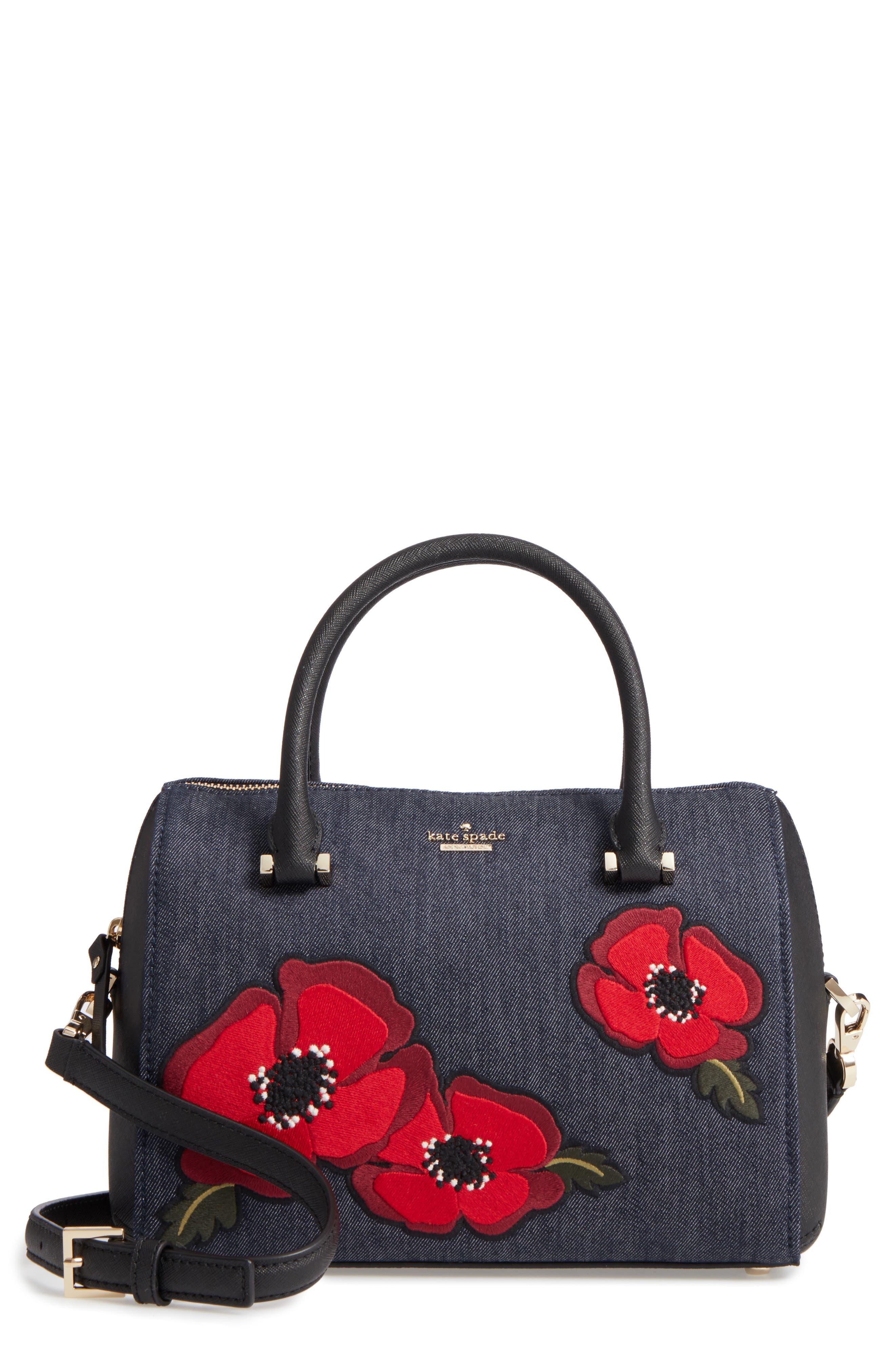 cameron street poppy large lane embroidered denim satchel,                             Main thumbnail 1, color,                             Port Blue