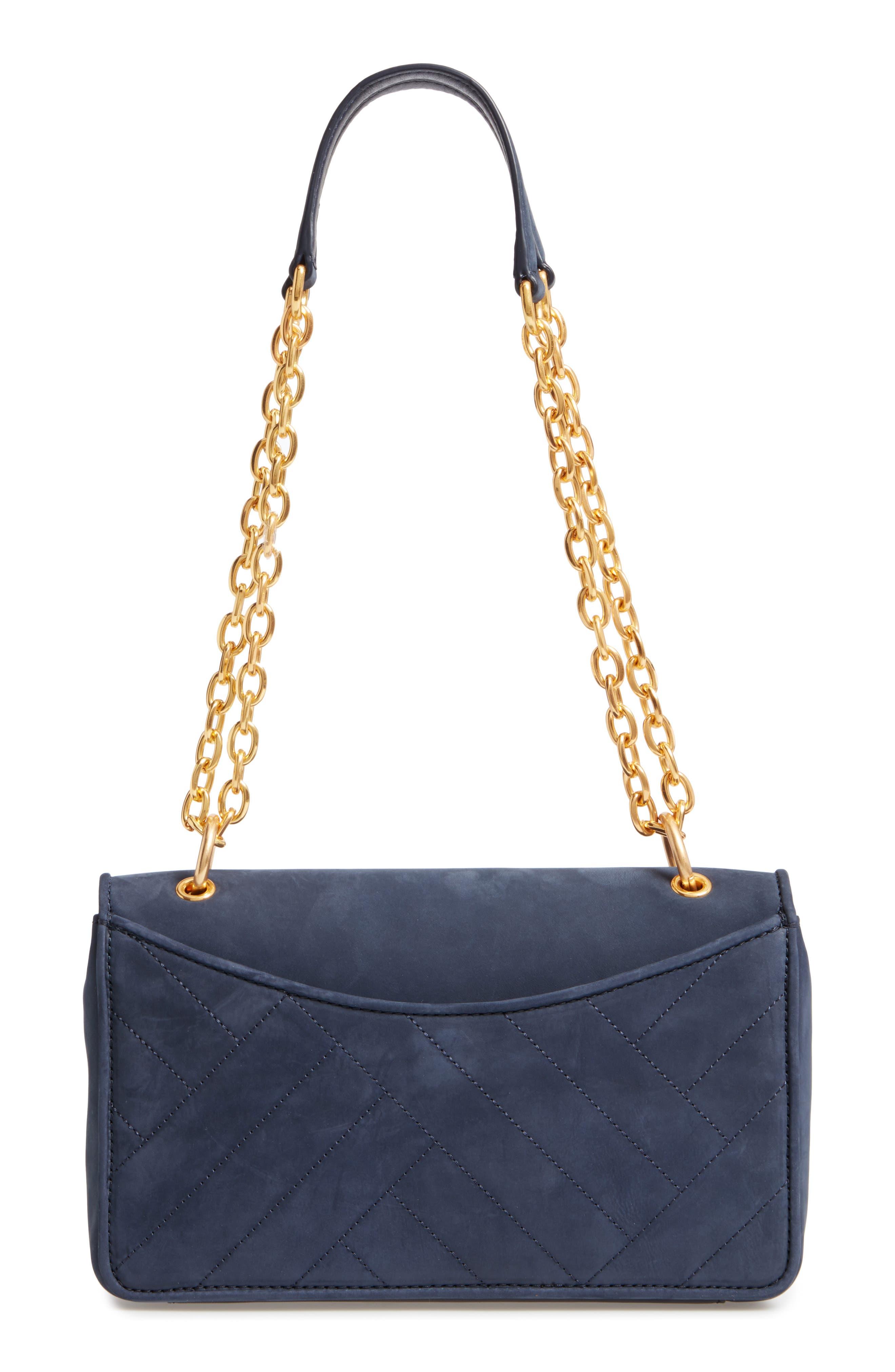Alexa Leather Shoulder Bag,                             Alternate thumbnail 3, color,                             Royal Navy