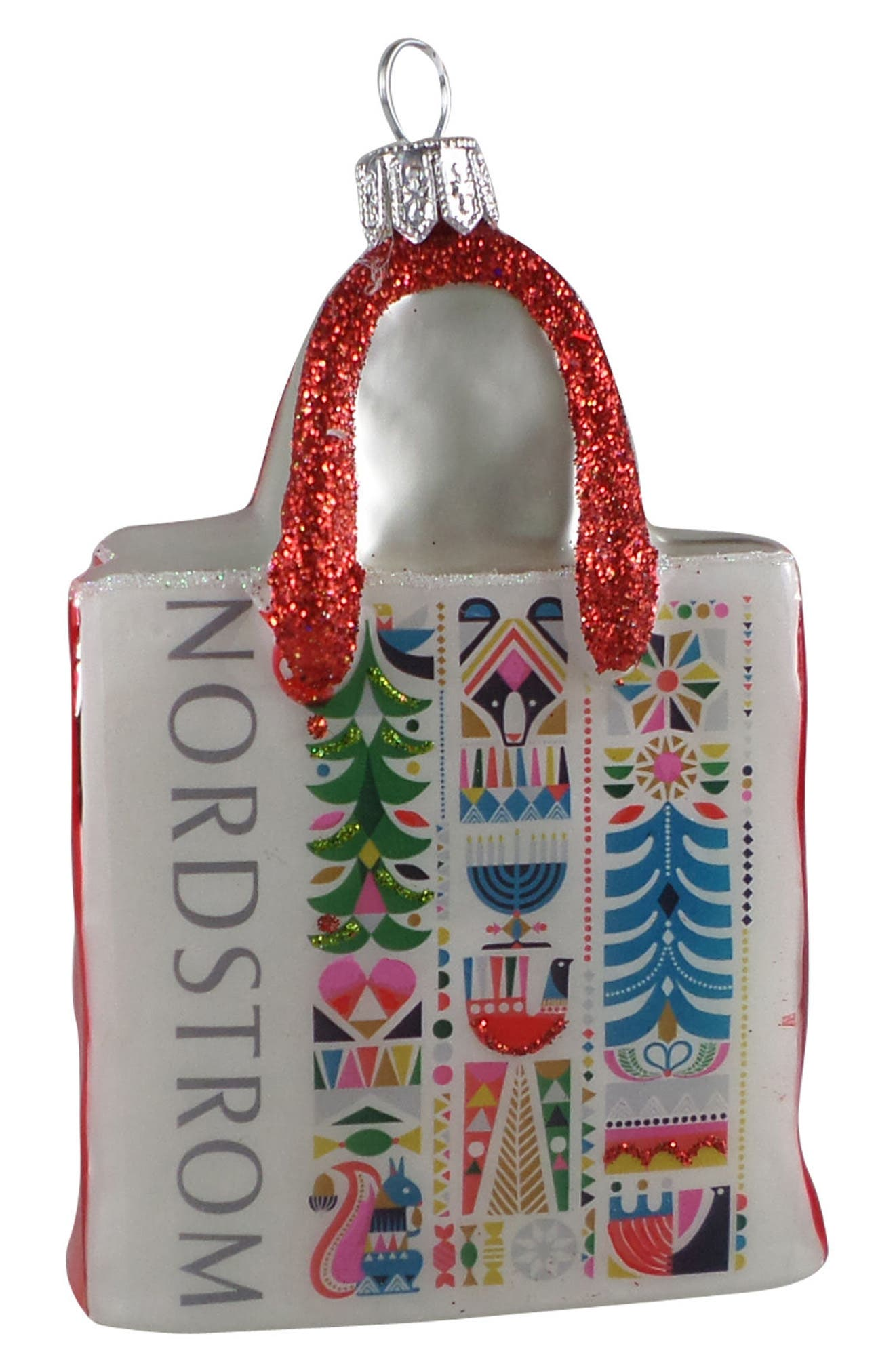 Nordstrom Shopping Bag 2017 Ornament,                         Main,                         color, White Multi Holiday