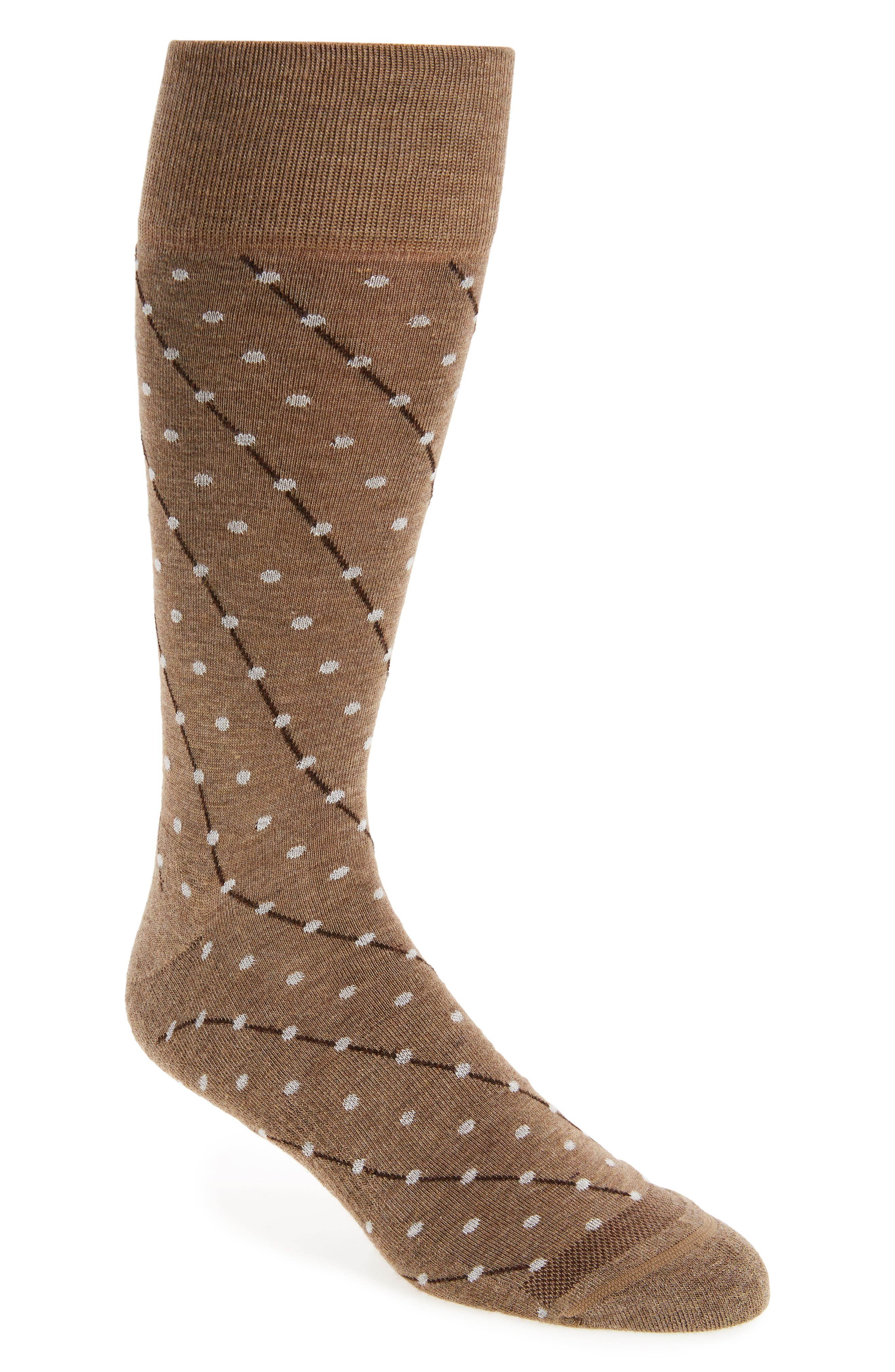 Dot Socks,                         Main,                         color, Taupe Heather