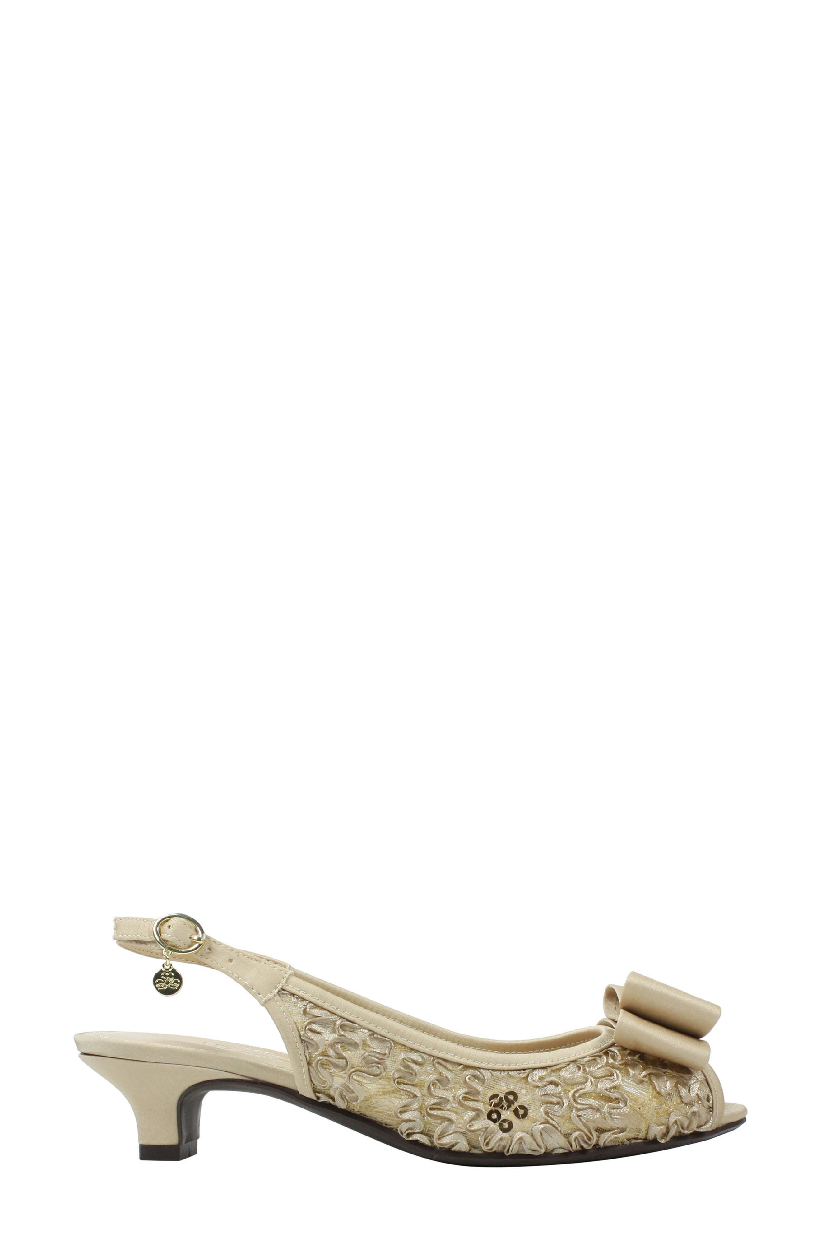 Landan Bow Slingback Sandal,                             Alternate thumbnail 3, color,                             Champagne