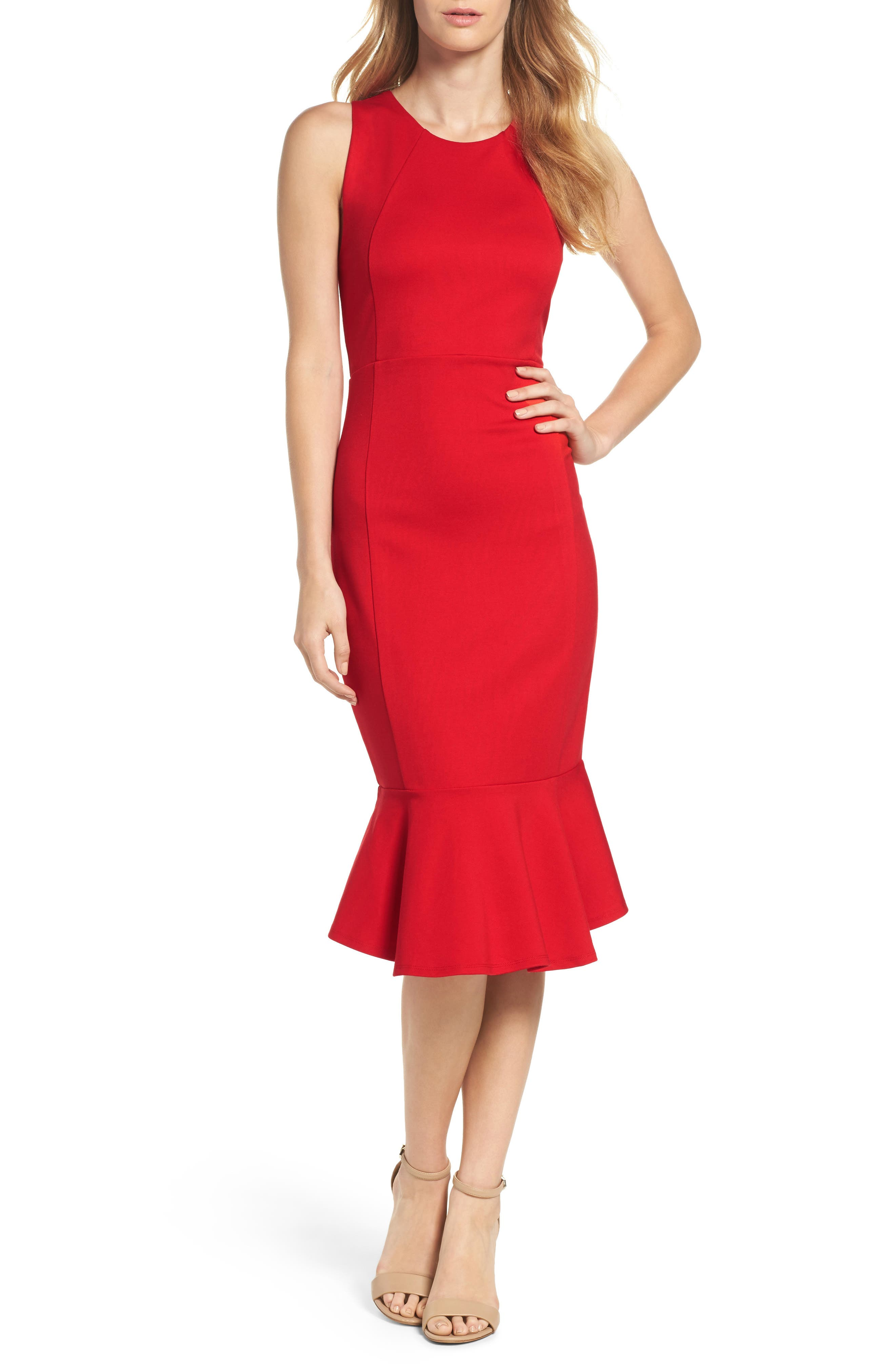 Alternate Image 1 Selected - Felicity & Coco Monrow Flutter Hem Midi Dress (Nordstrom Exclusive)