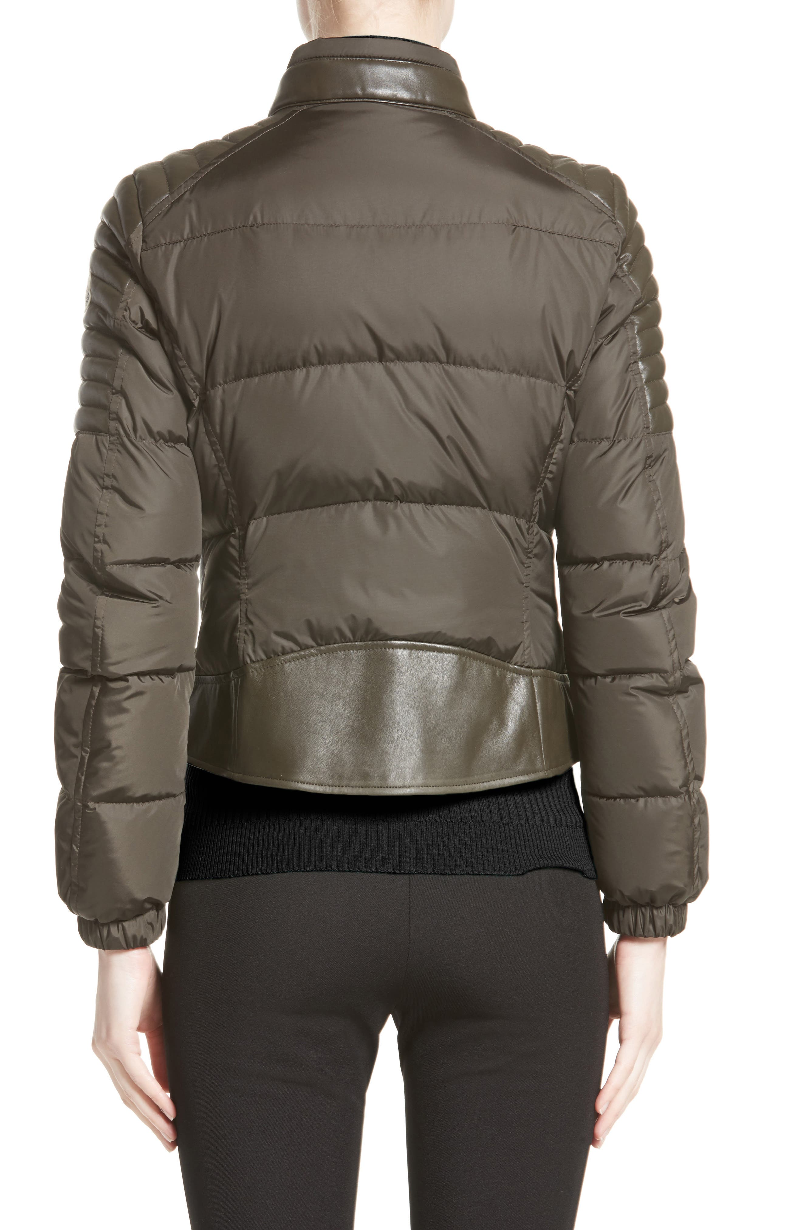 Clematis Leather Trim Down Puffer Jacket,                             Alternate thumbnail 2, color,                             Olive