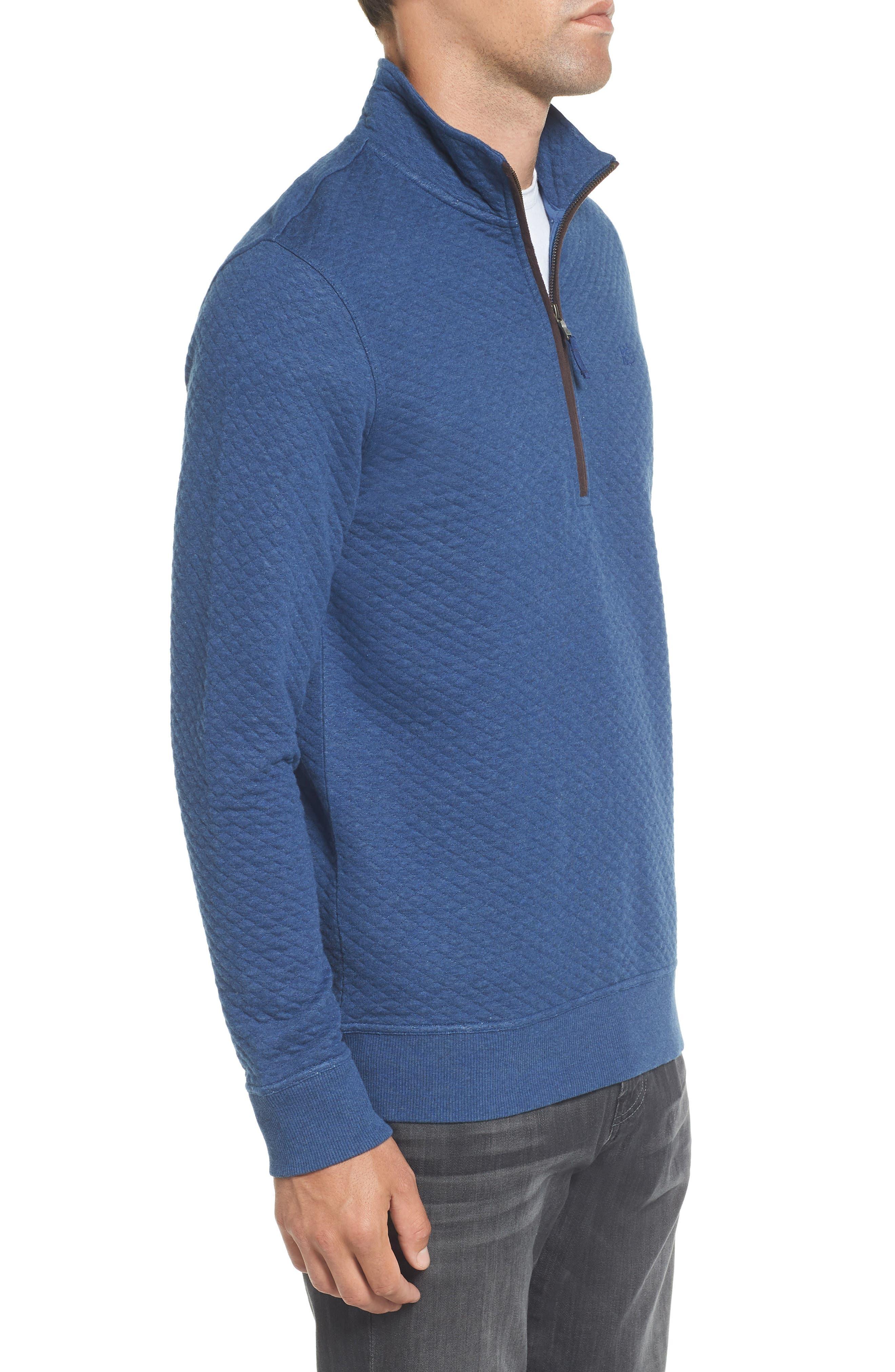 Sundown Quilted Quarter Zip Pullover,                             Alternate thumbnail 3, color,                             Skipper Blue