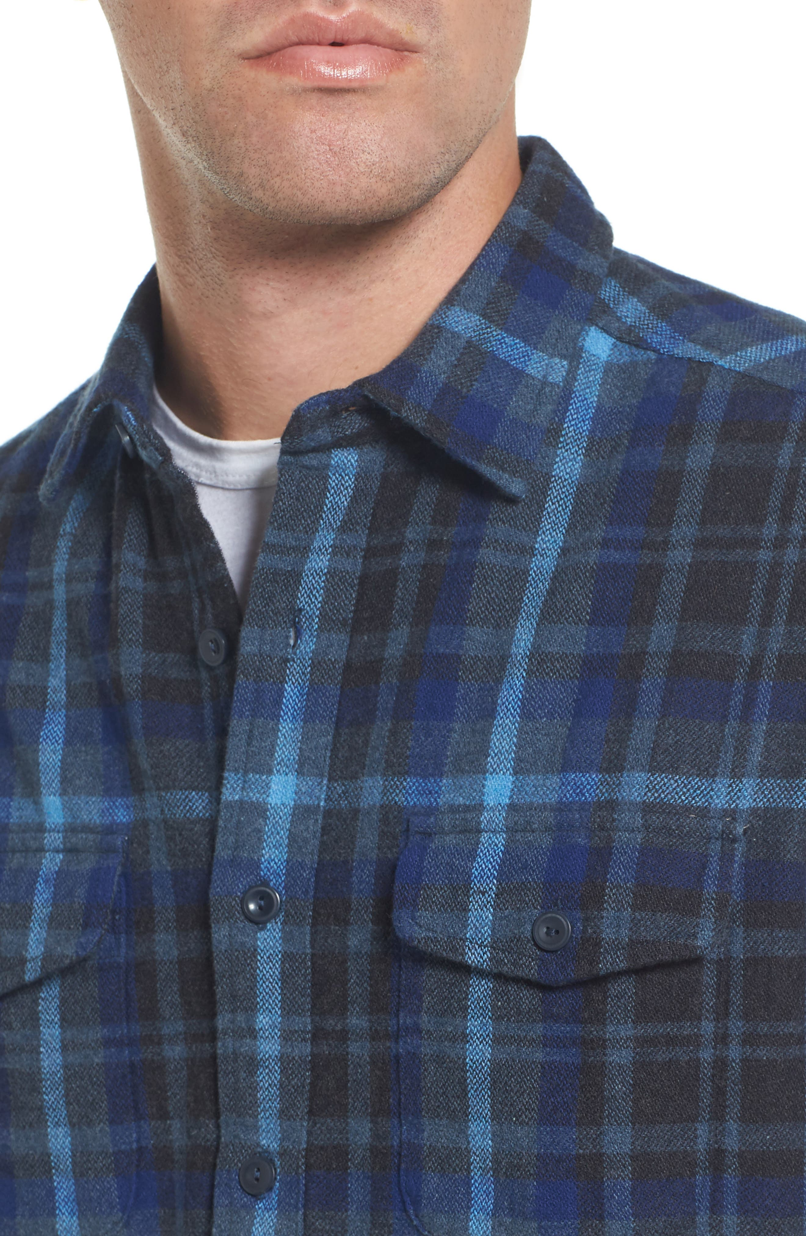 Barton Modern Fit Plaid Flannel Sport Shirt,                             Alternate thumbnail 4, color,                             Charcoal Royal Gray