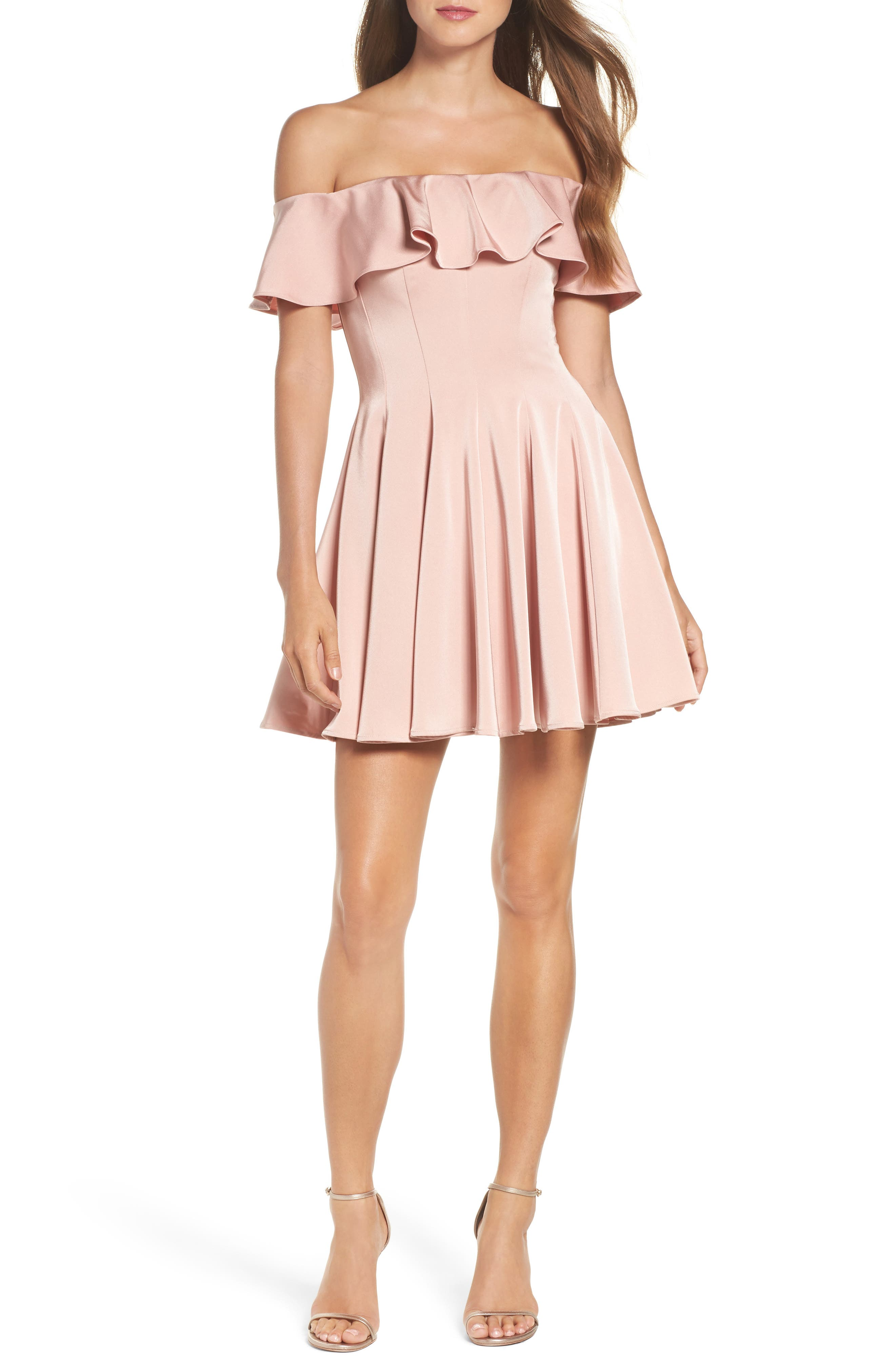Ruffle Off the Shoulder Fit & Flare Dress,                         Main,                         color, Blush