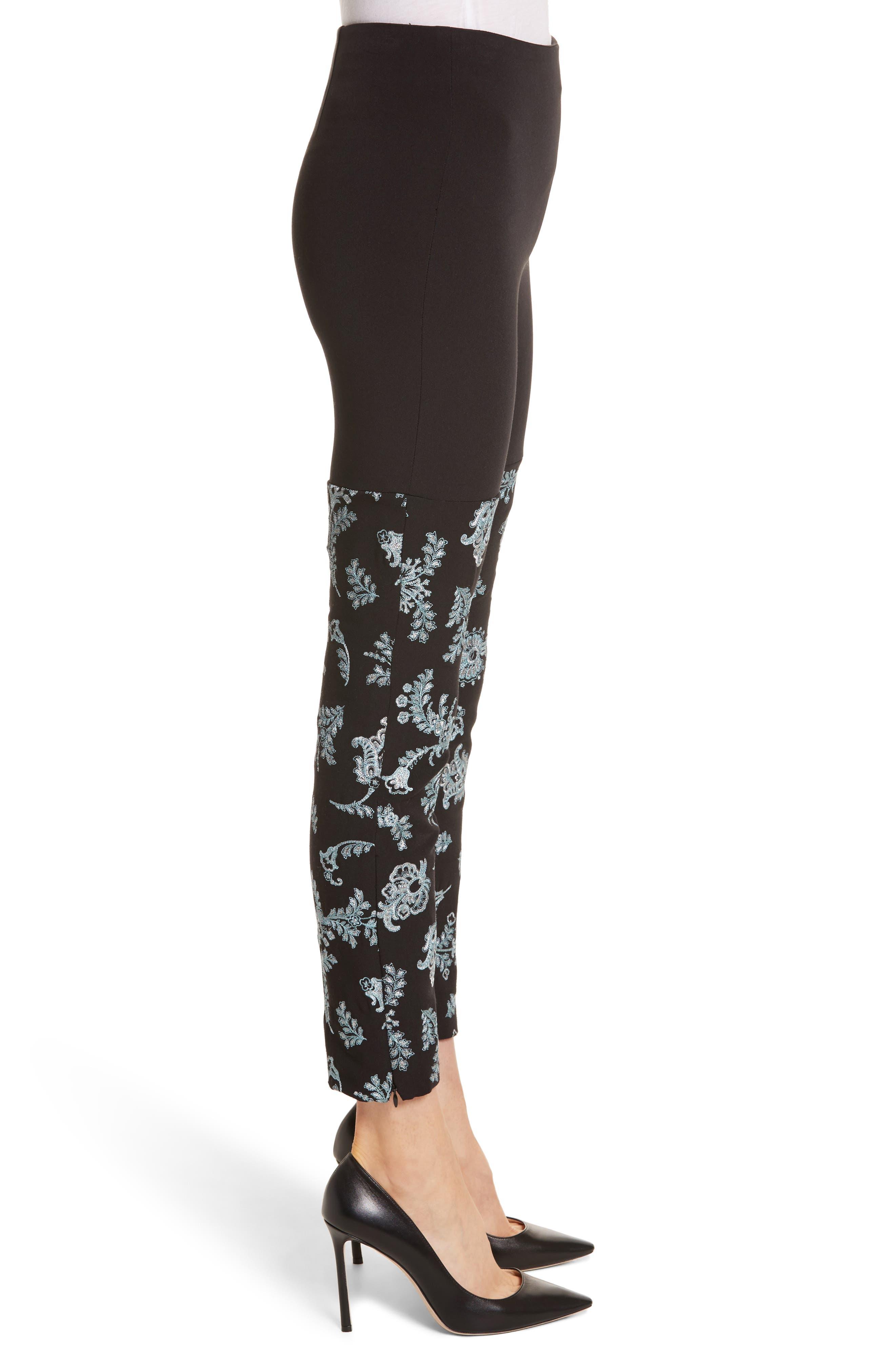 Marin Embroidered Leggings,                             Alternate thumbnail 4, color,                             Black/ Silver/ Sunshower