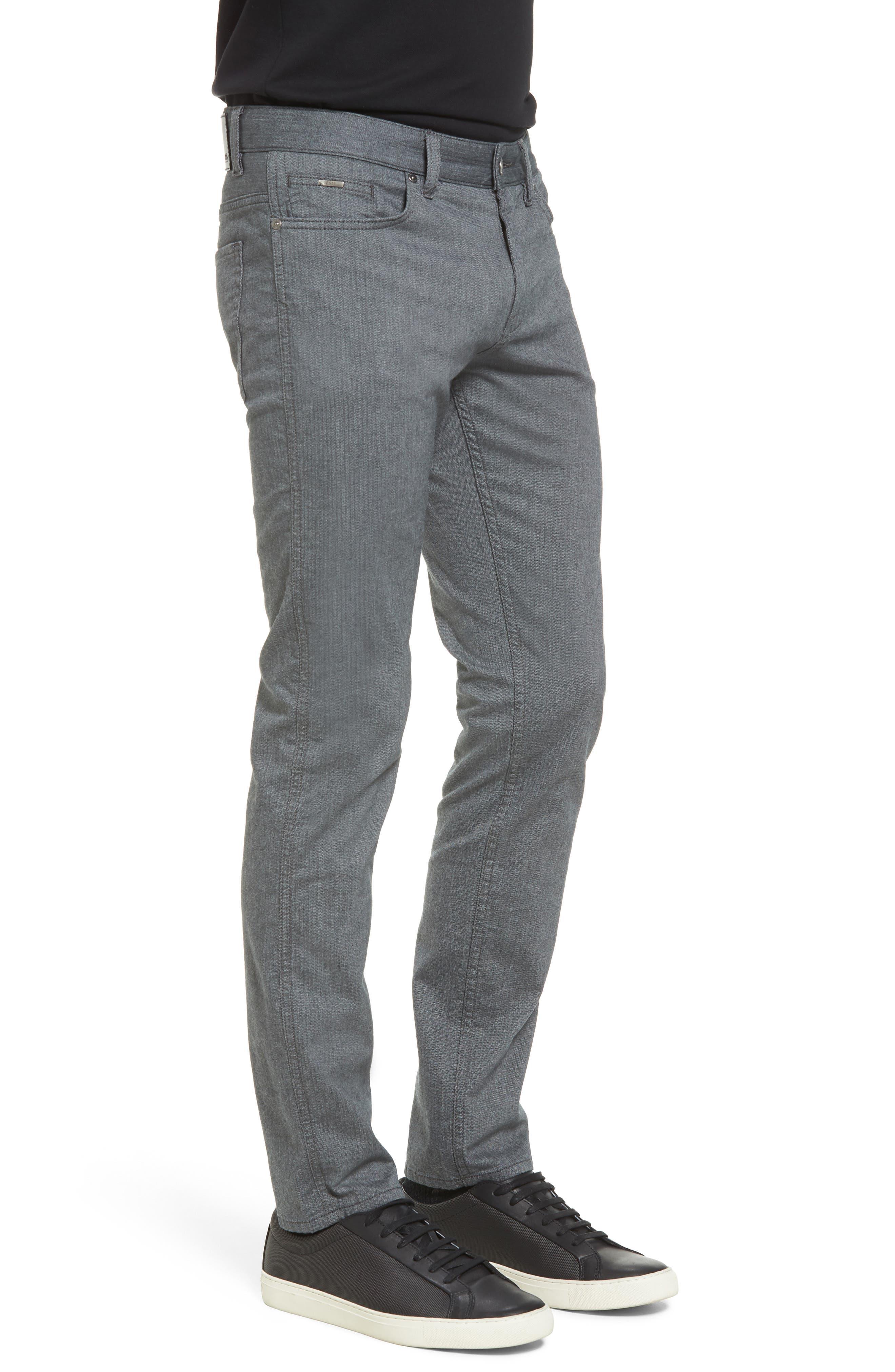 Delaware Slim Herringbone Five-Pocket Pants,                             Alternate thumbnail 3, color,                             Charcoal