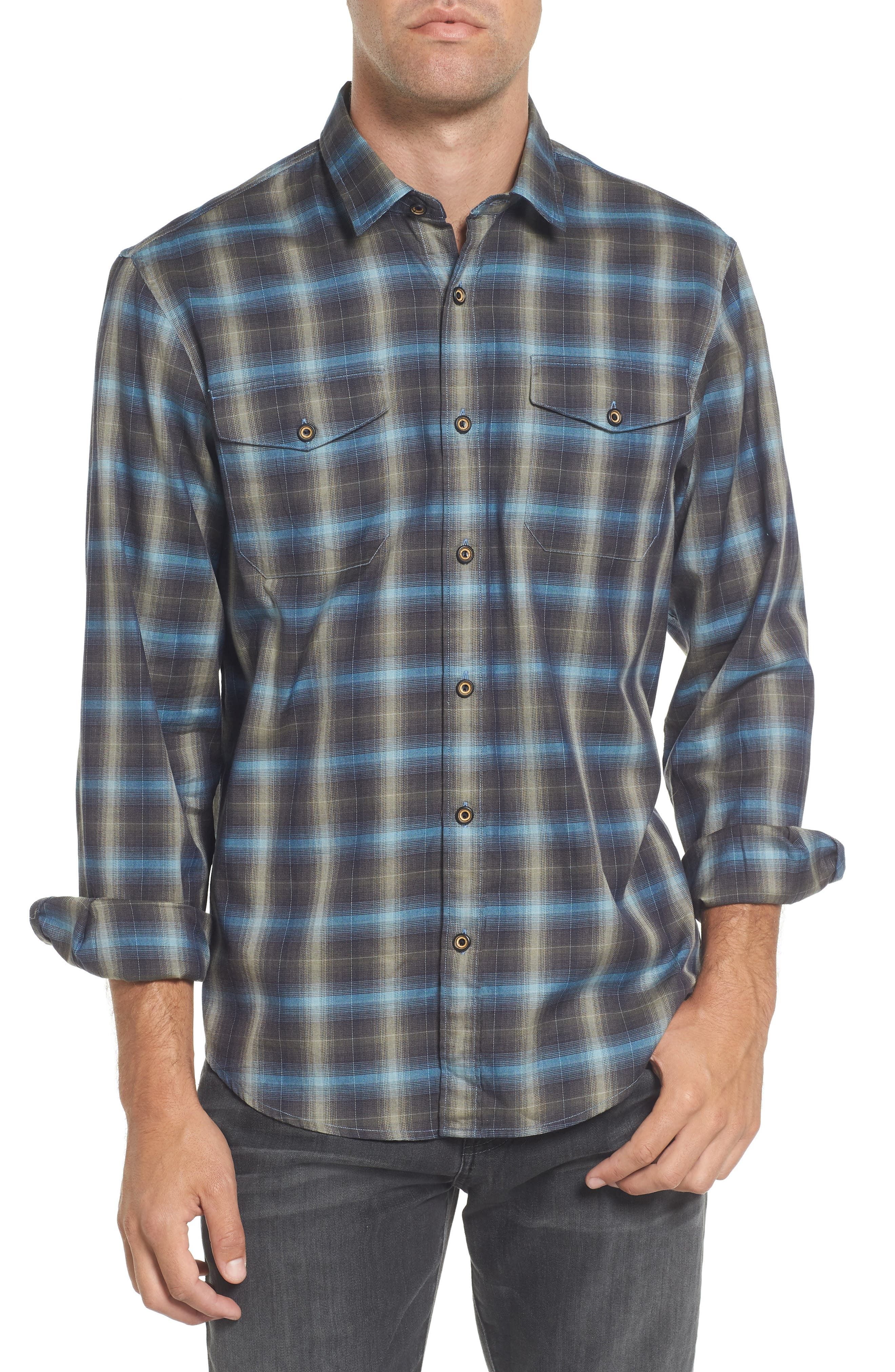 Walnut Plaid Garment Washed Flannel Shirt,                             Main thumbnail 1, color,                             Forest