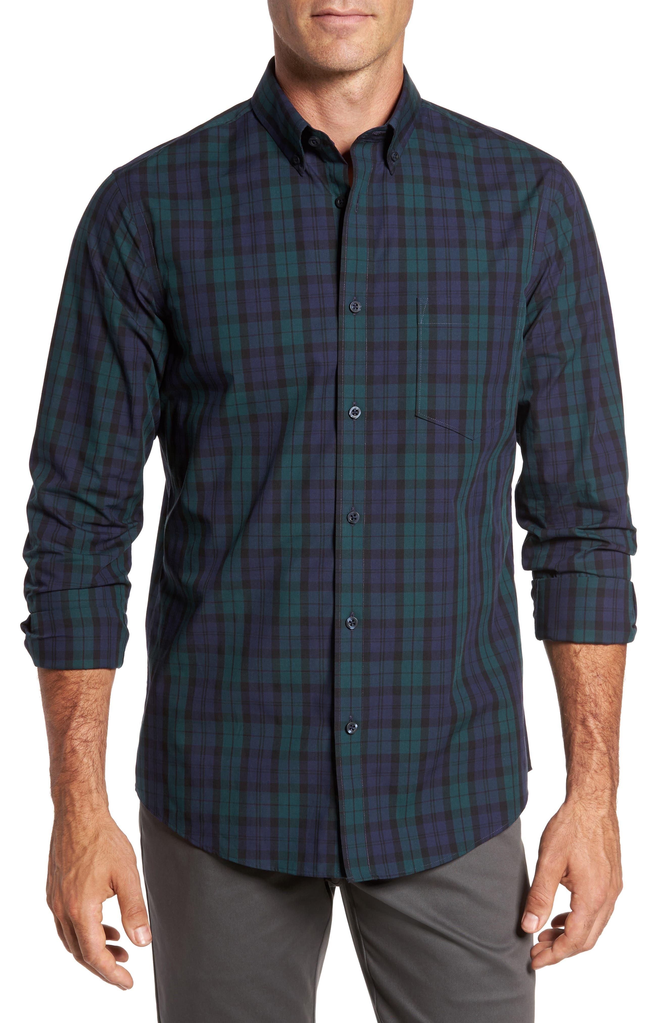 Regular Fit Non-Iron Plaid Sport Shirt,                         Main,                         color, Green Bug Navy Tartan