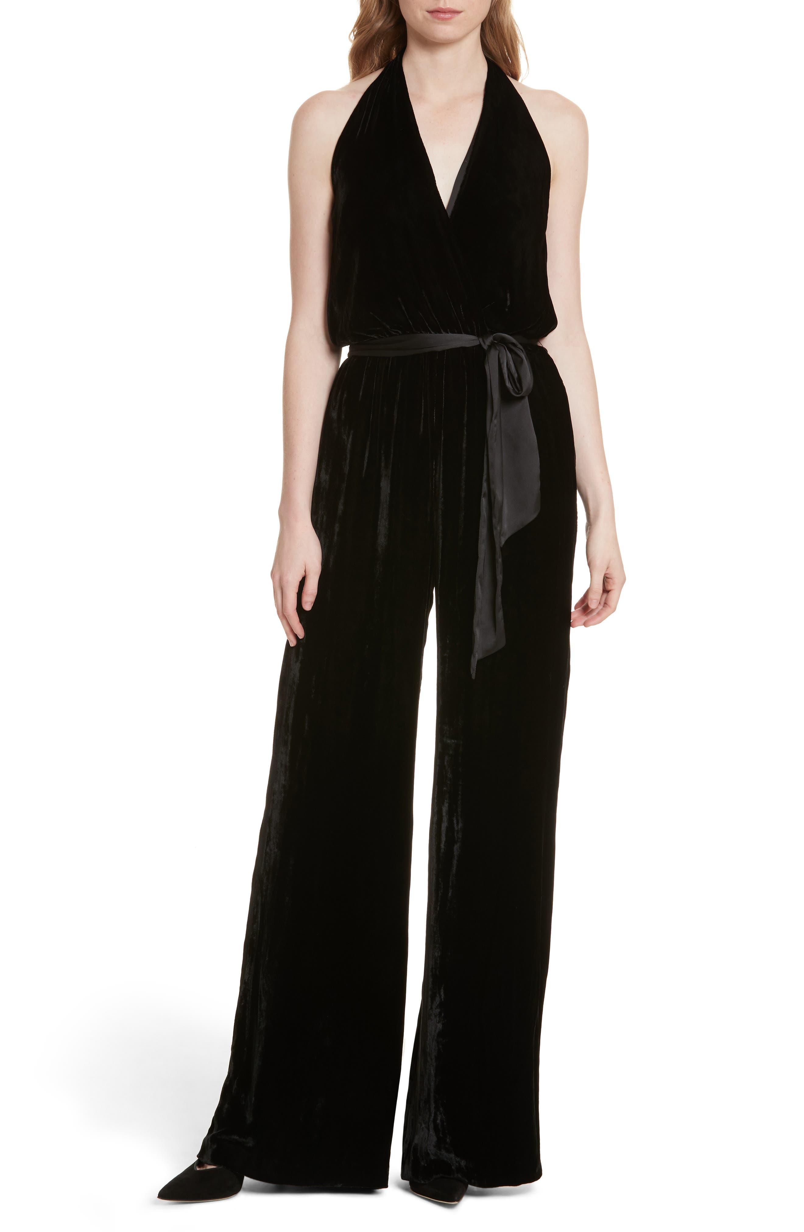 Cyprus V-Neck Velvet Jumpsuit,                         Main,                         color, Black