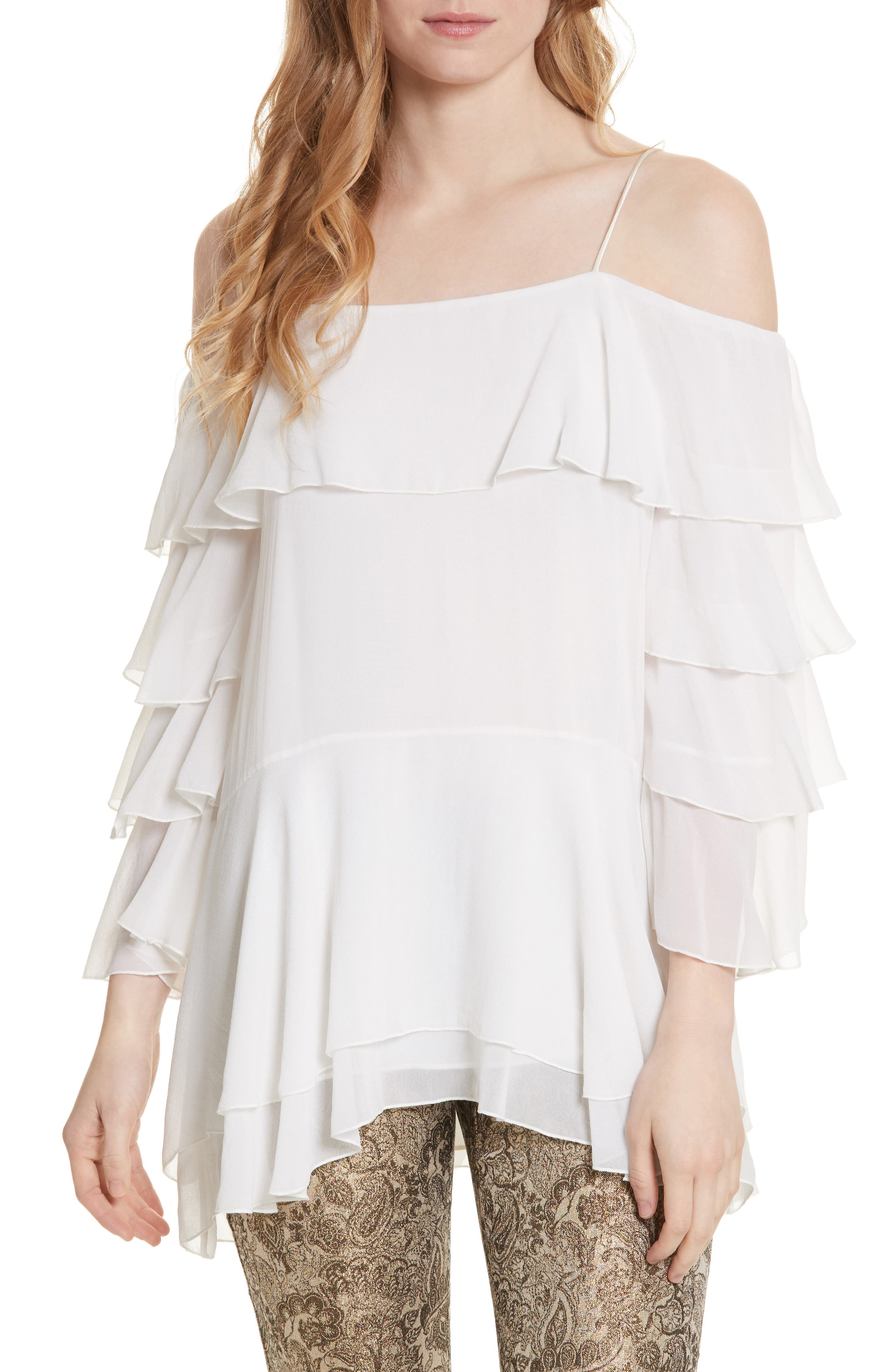 Main Image - Alice + Olivia Lexia Lyrd Cold Shoulder Ruffle Silk Top