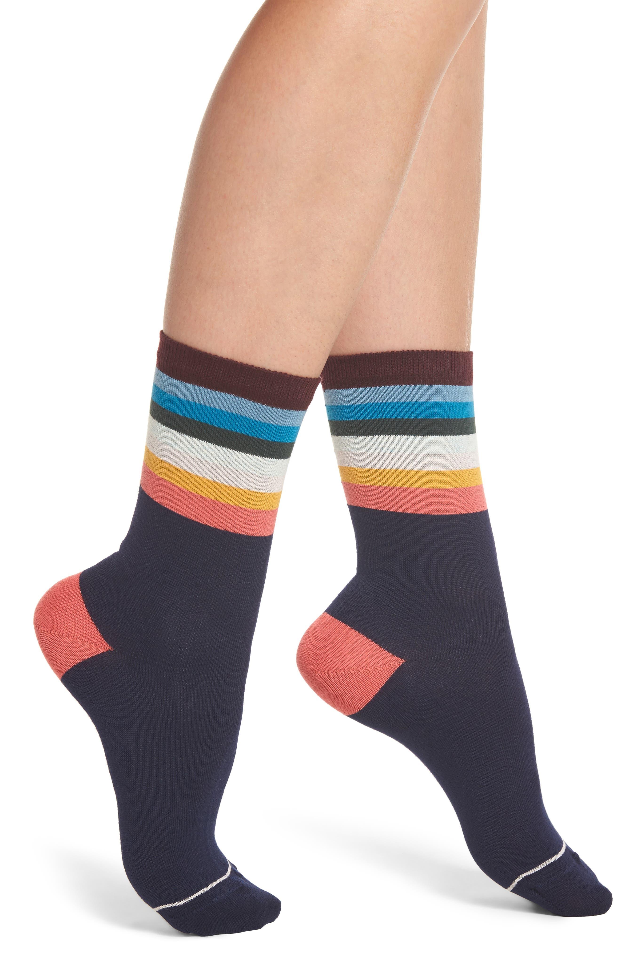 Cindy Artist Stripe Ankle Socks,                             Main thumbnail 1, color,                             Navy