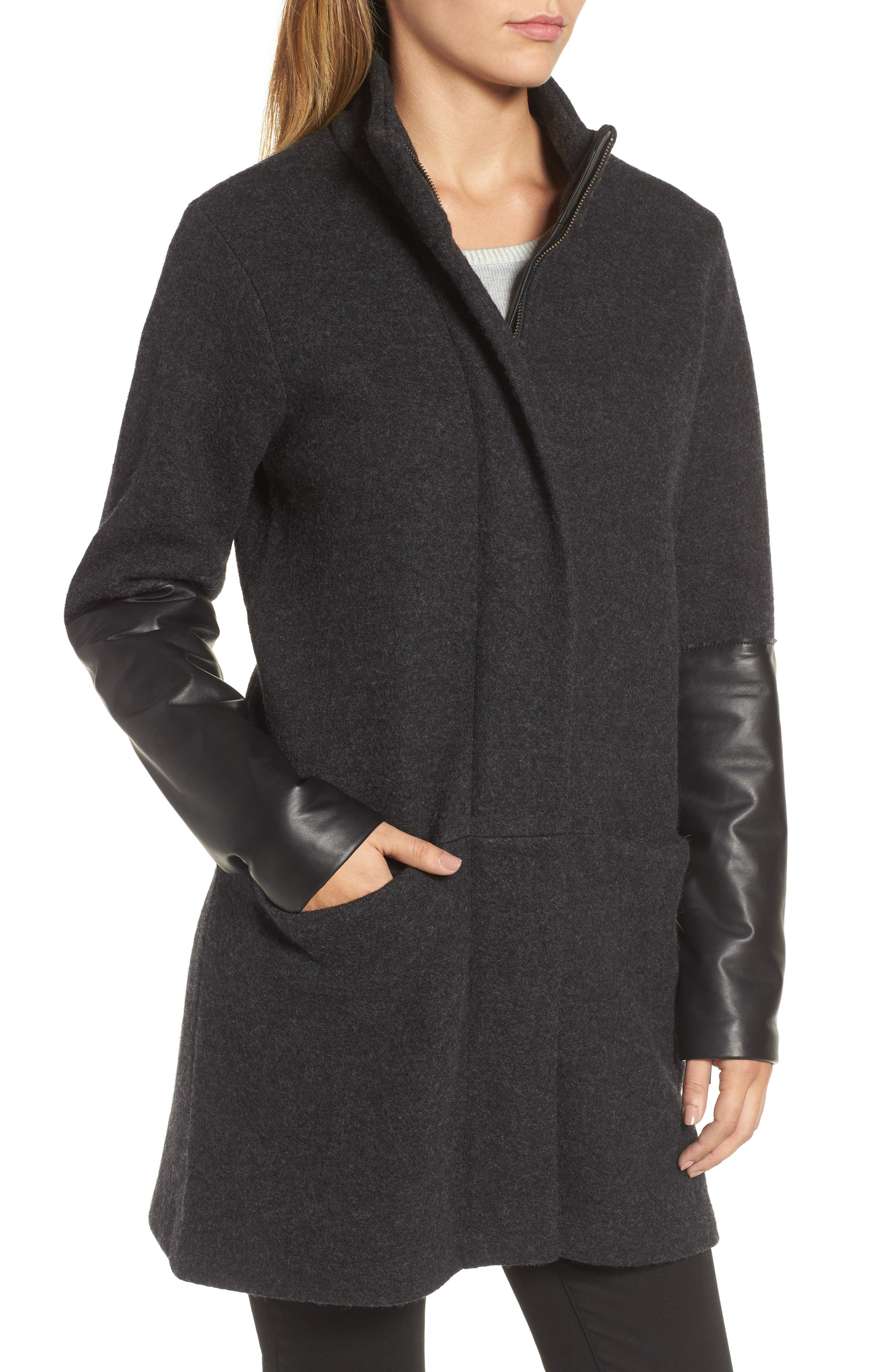 Leather Sleeve Wool Jacket,                             Alternate thumbnail 4, color,                             Charcoal