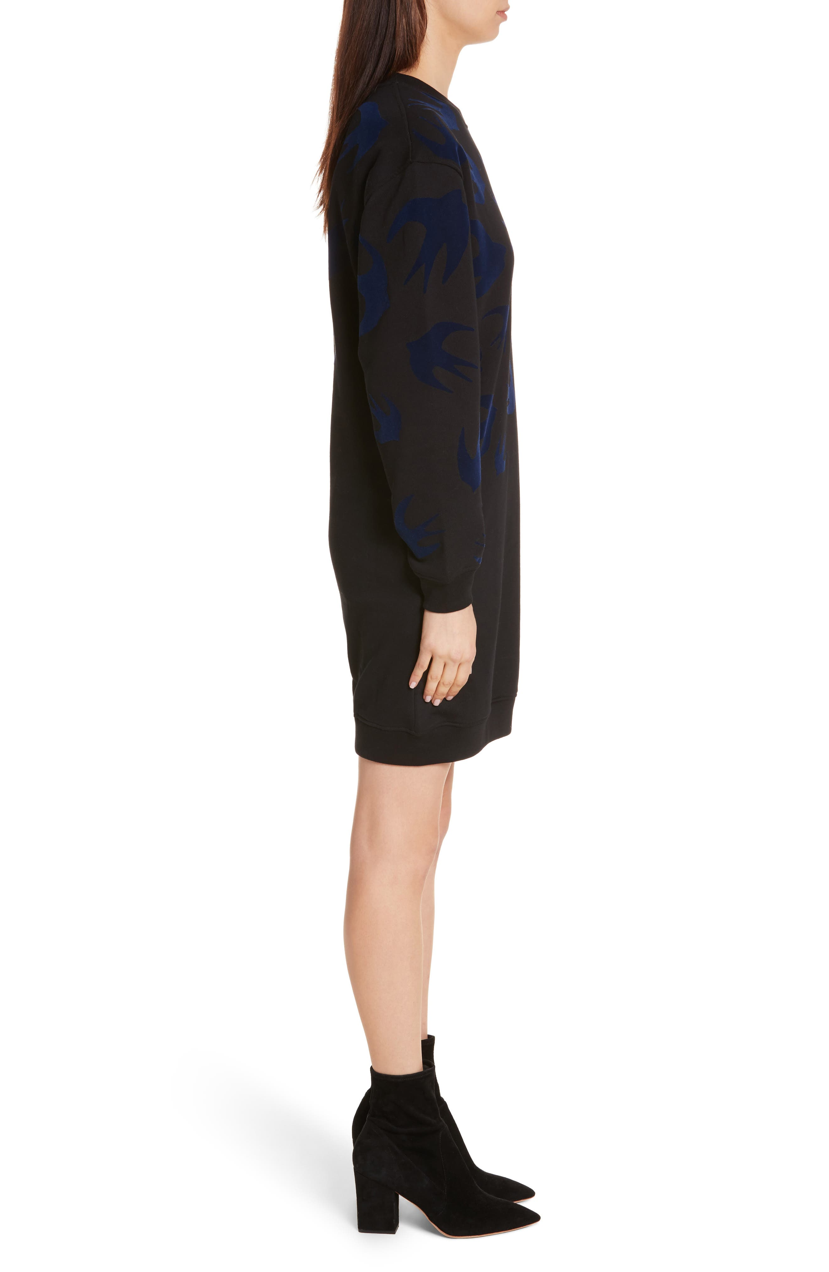 Swallow Classic Sweatshirt Dress,                             Alternate thumbnail 3, color,                             Black Multi