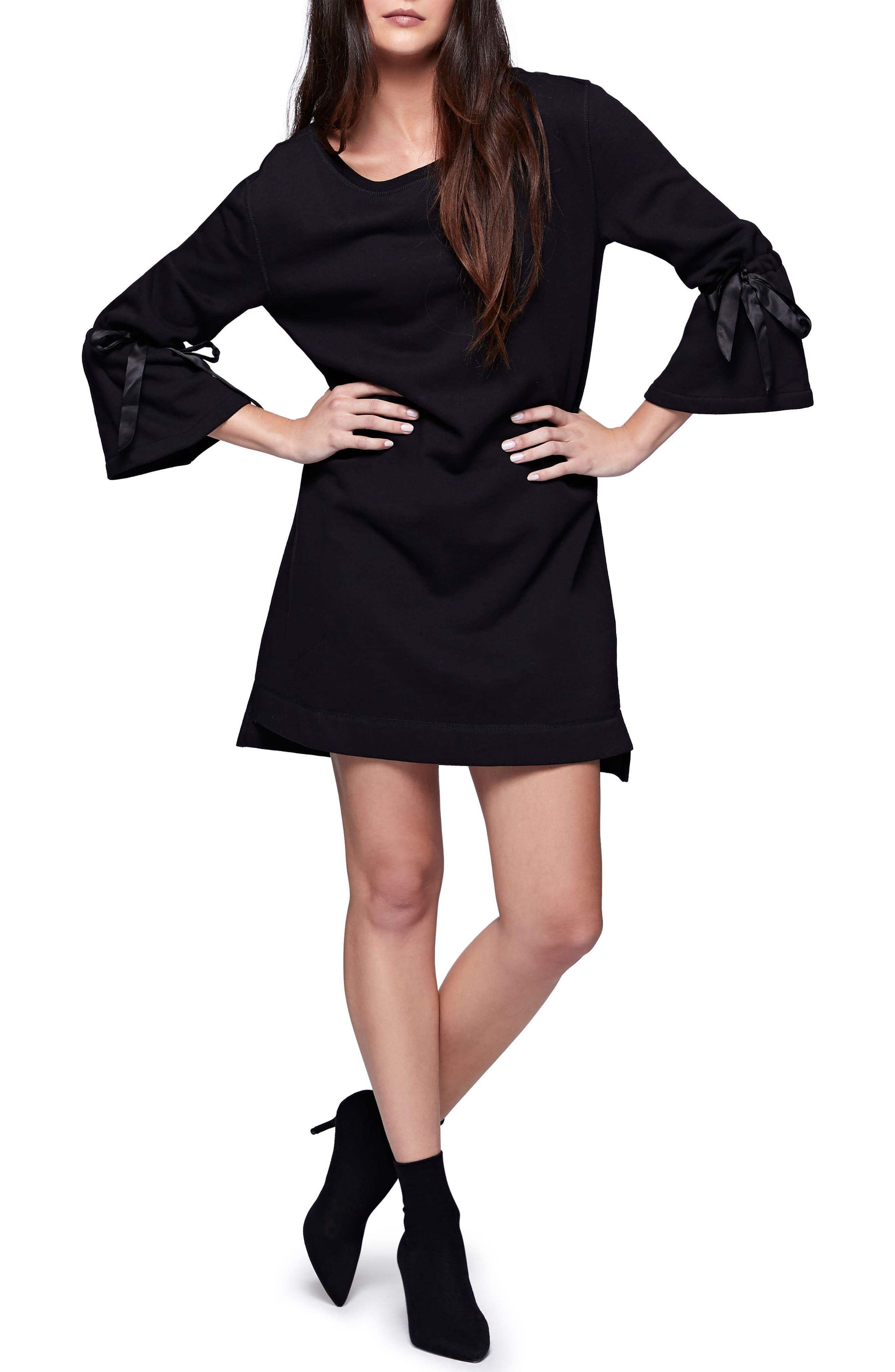Bell Sleeve Sweatshirt Dress,                             Alternate thumbnail 3, color,                             Black
