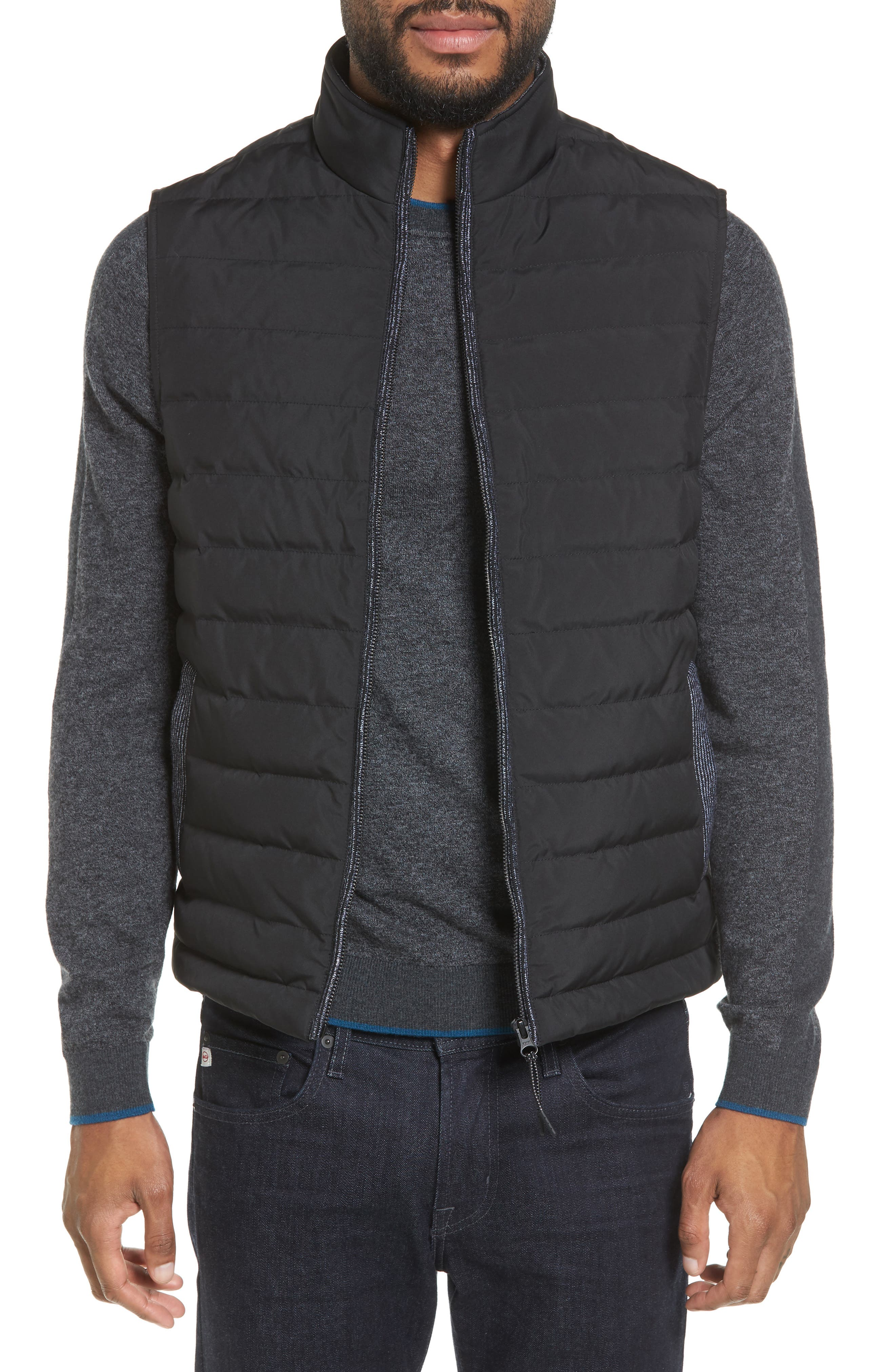 Jozeph Quilted Down Vest,                             Main thumbnail 1, color,                             Black