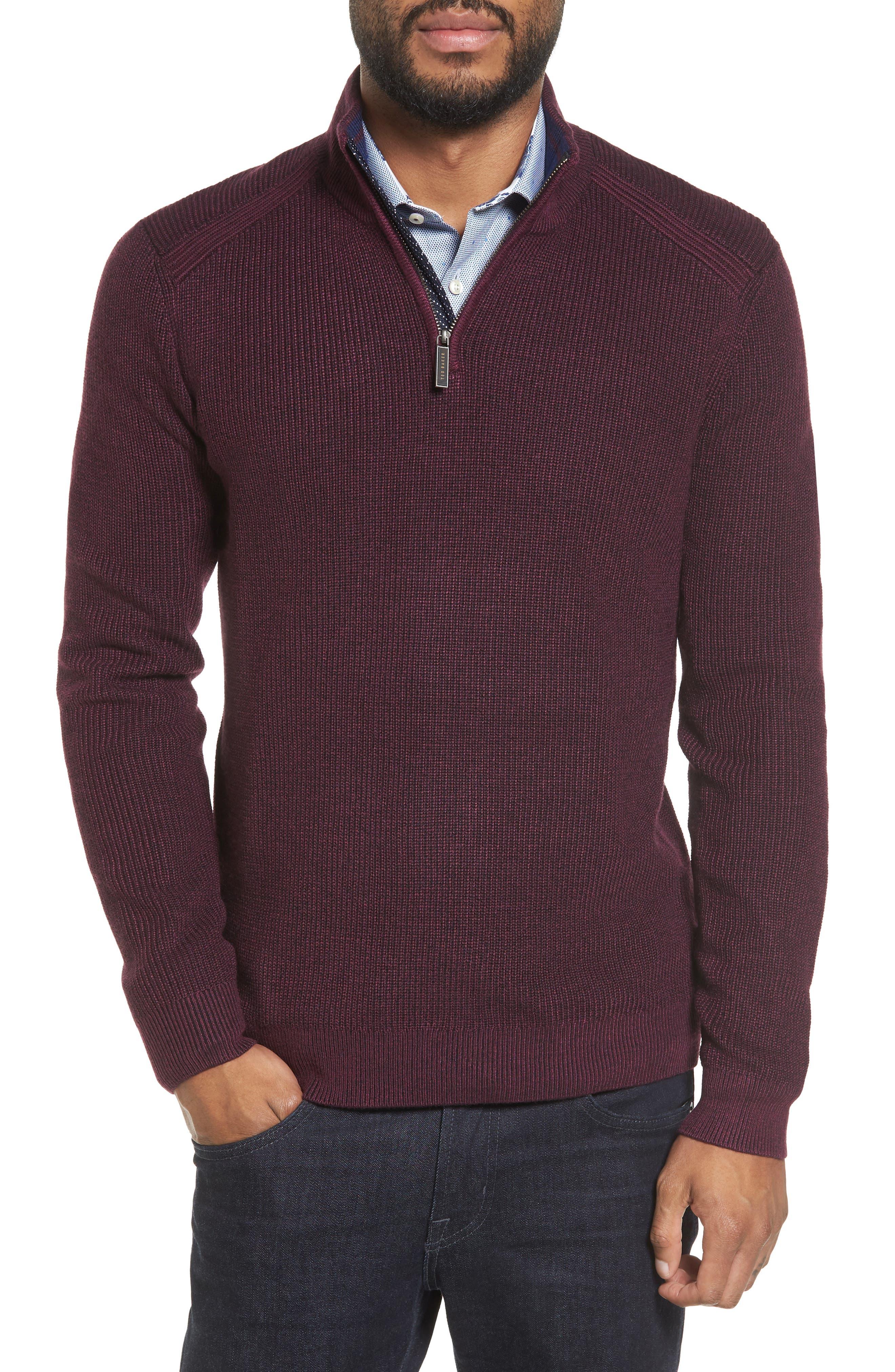 Stach Quarter Zip Sweater,                             Main thumbnail 1, color,                             Purple