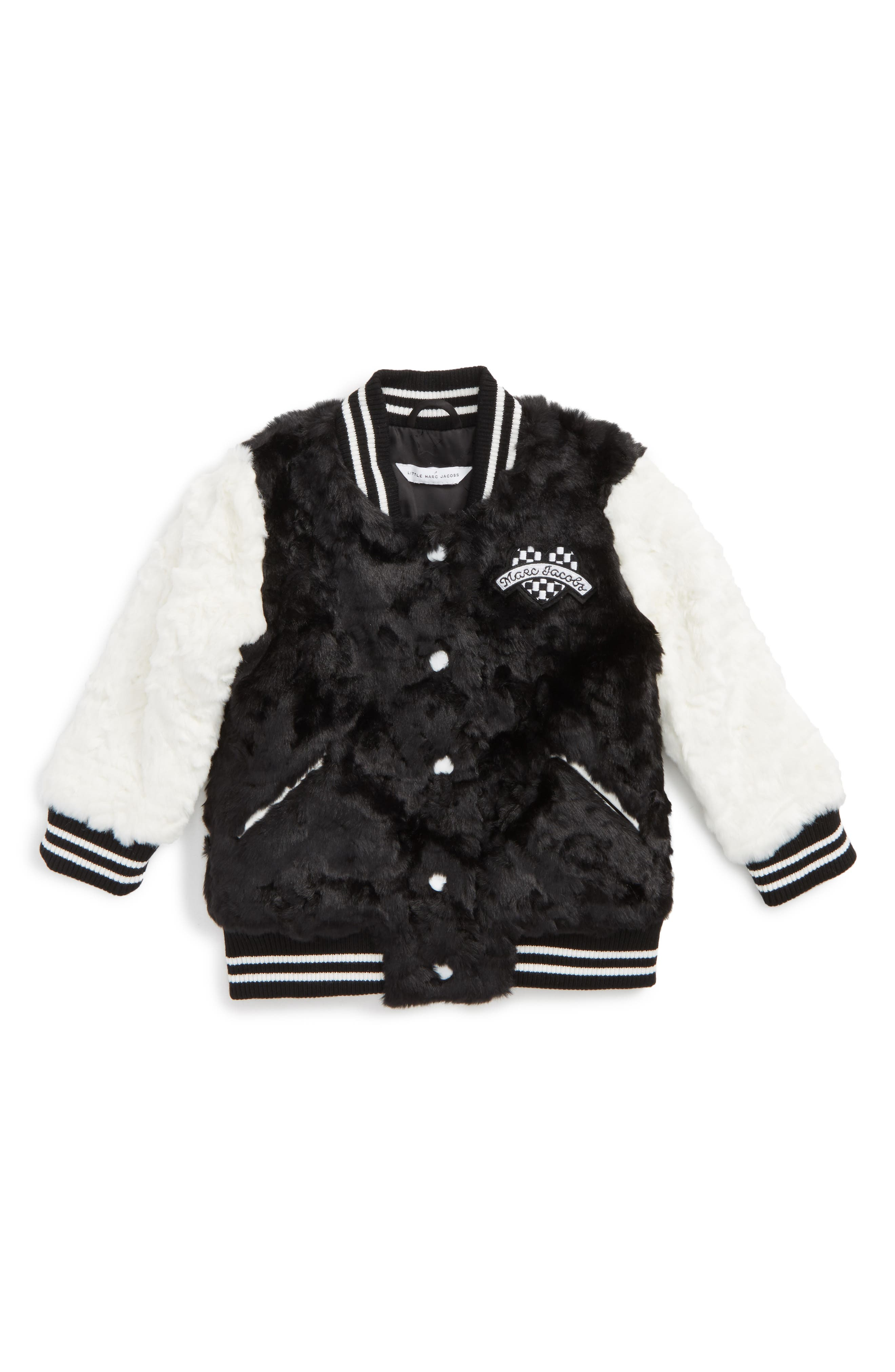 Alternate Image 1 Selected - LITTLE MARC JACOBS Faux Fur Jacket (Toddler Girls, Little Girls & Big Girls)