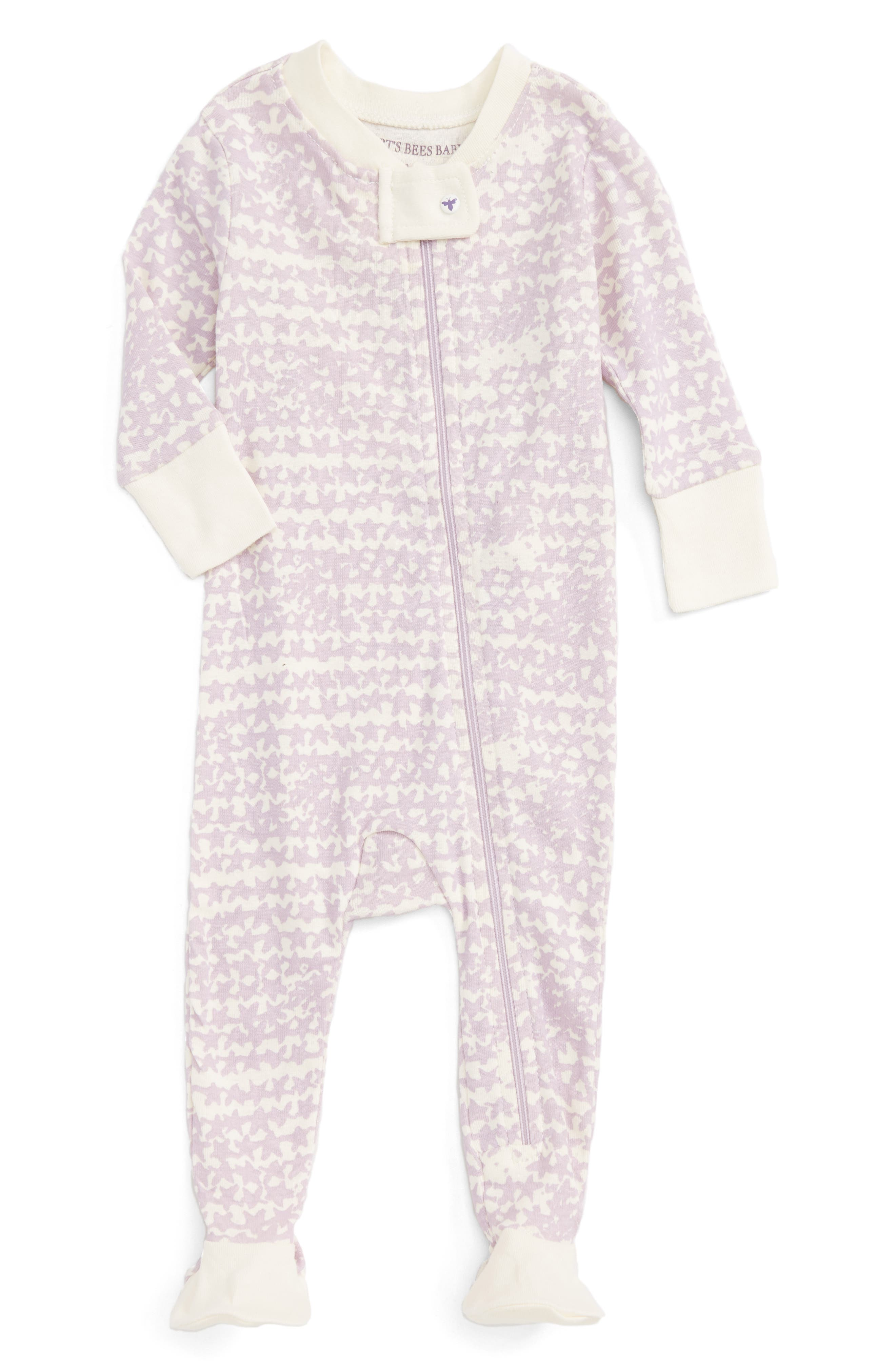 Alternate Image 1 Selected - Burt's Bees Baby Clustered Star Fitted One-Piece Footed Pajamas (Baby Girls)