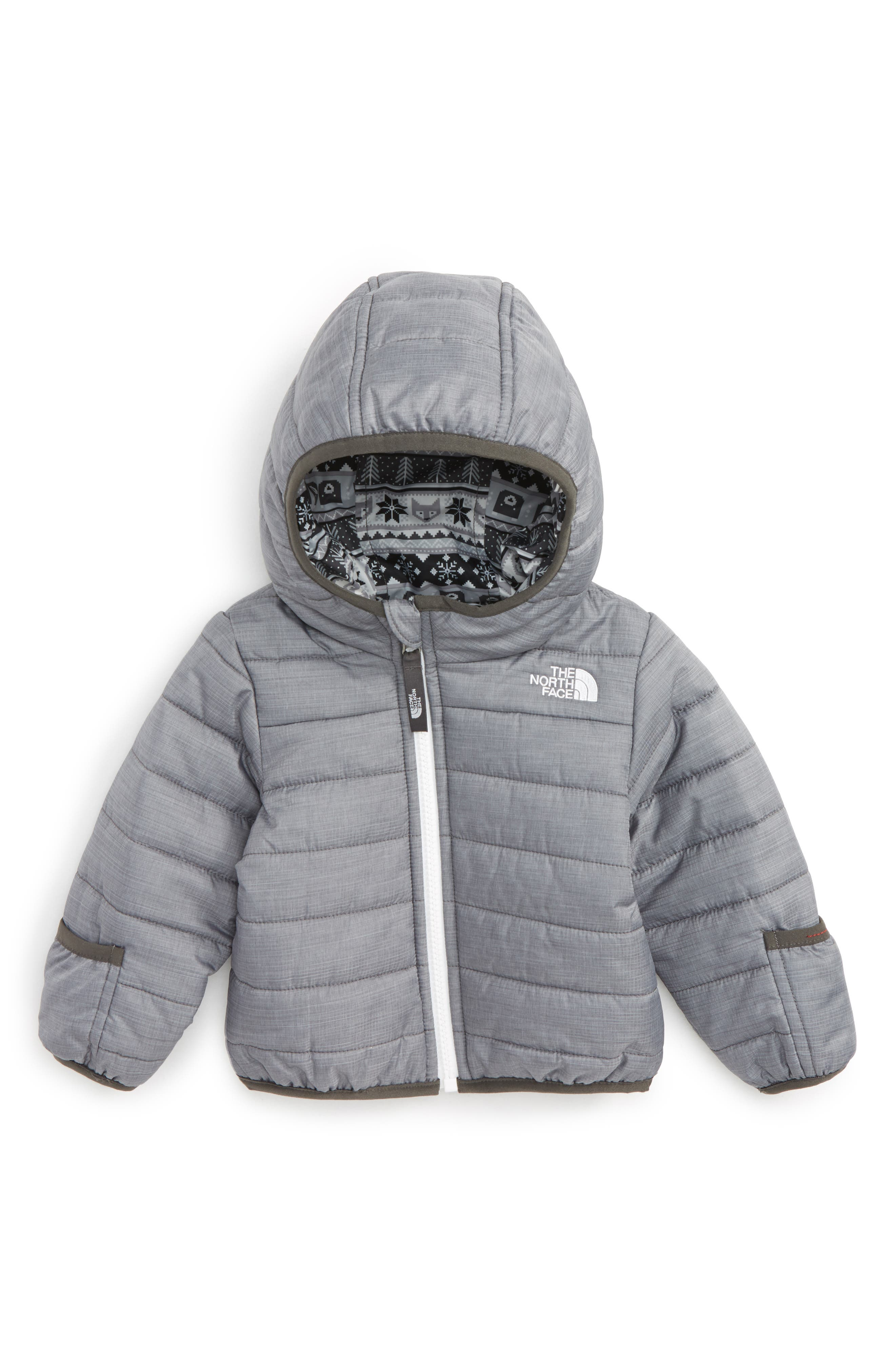 'Perrito' Reversible Water Repellent Hooded Jacket,                             Main thumbnail 1, color,                             Tnf Medium Grey Heather