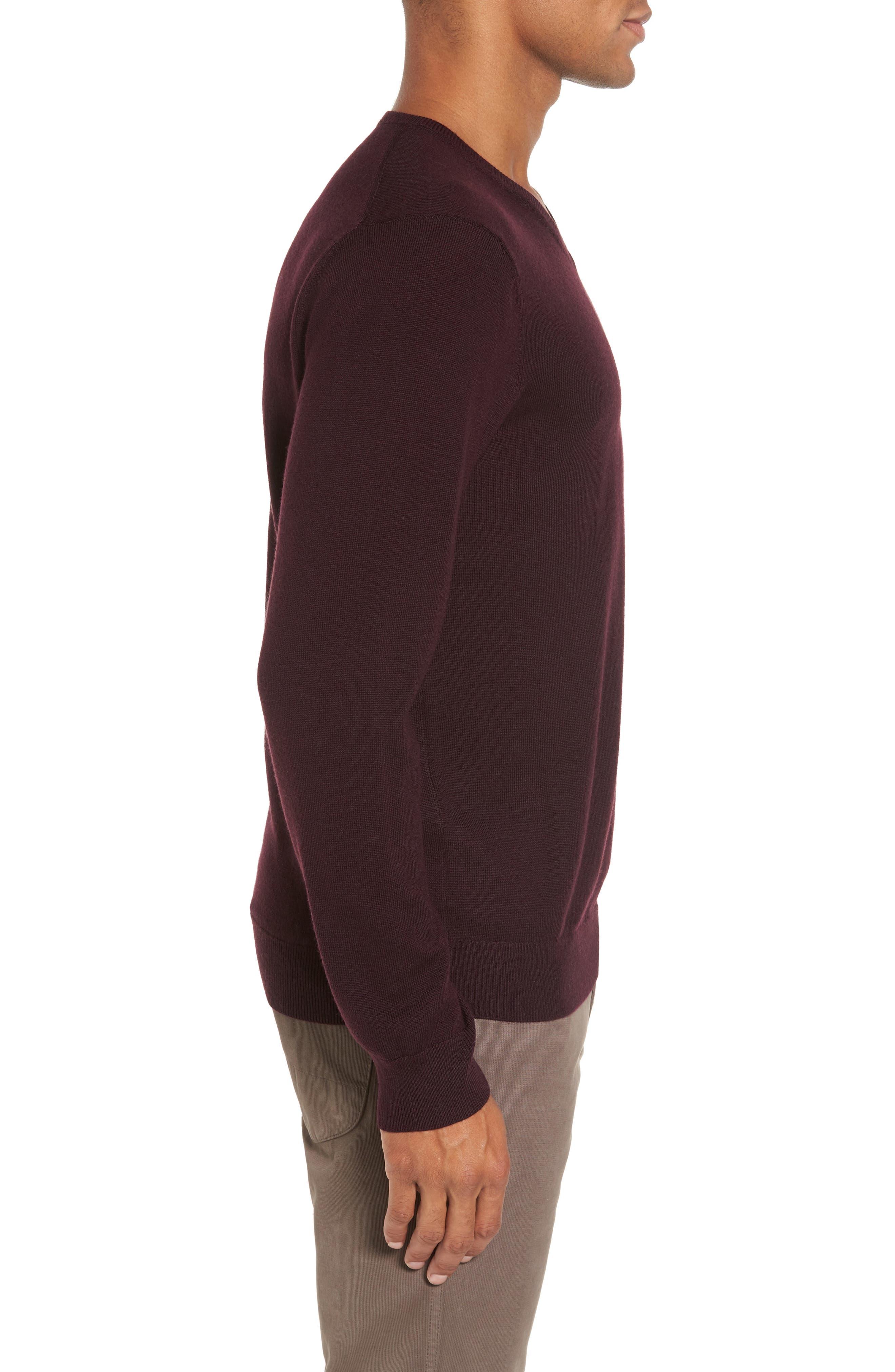 Merino V-Neck Sweater,                             Alternate thumbnail 3, color,                             Port