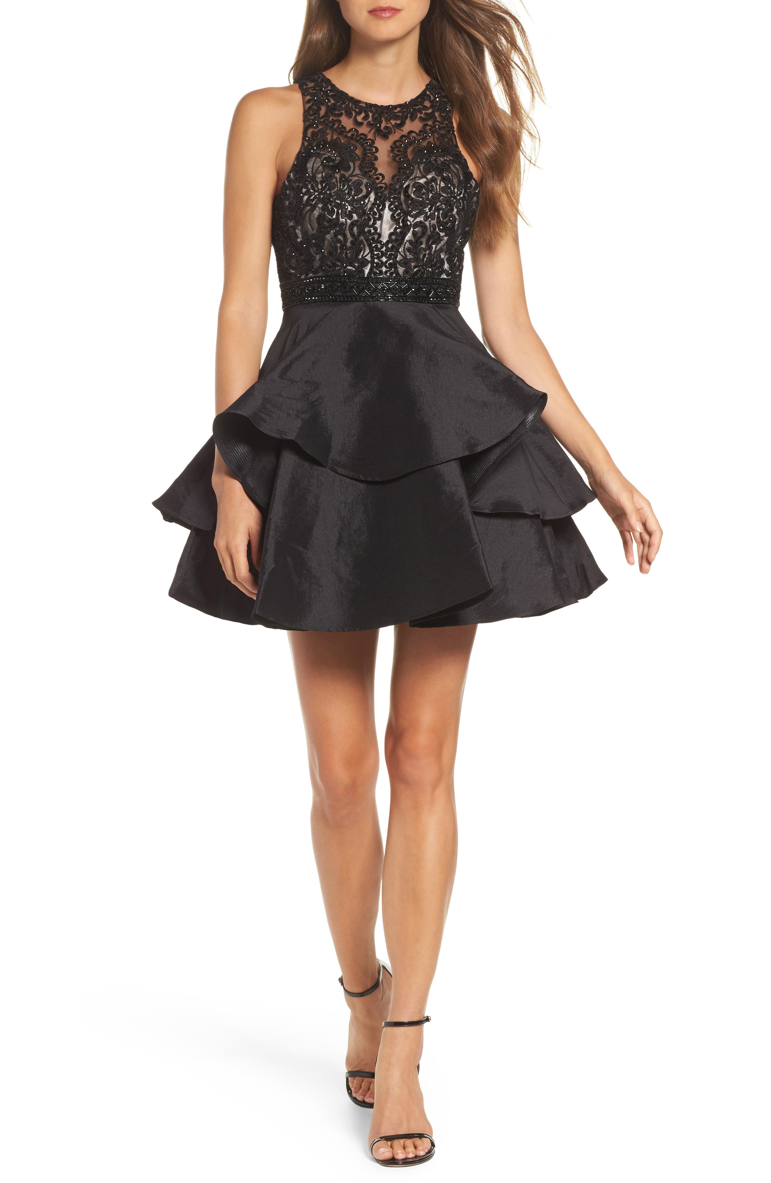 Lace Bodice Tiered Mikado Fit & Flare Dress,                         Main,                         color, Black