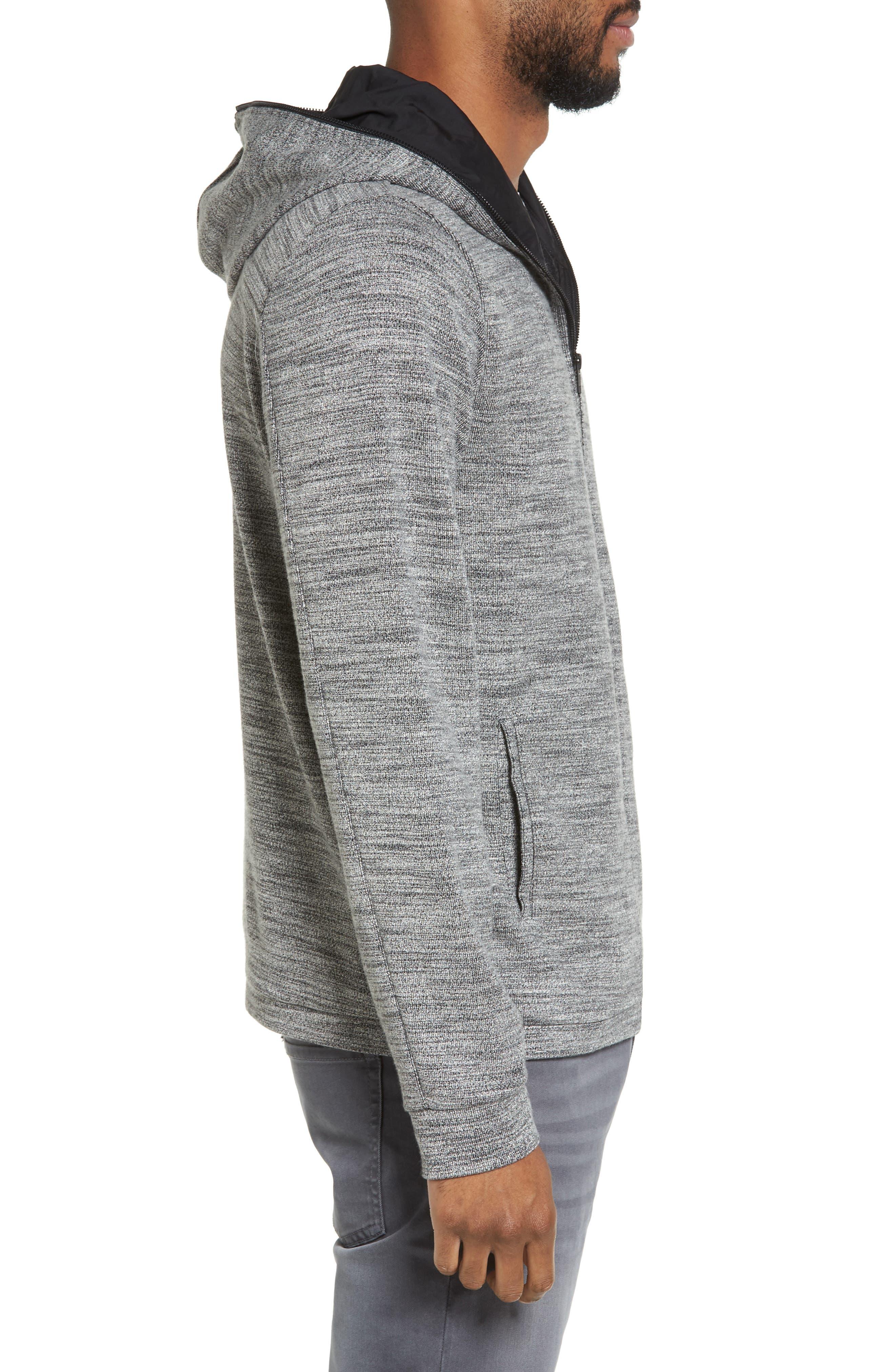 Trim Fit Lightweight Zip Hoodie,                             Alternate thumbnail 3, color,                             Grey Sleet Spacedye