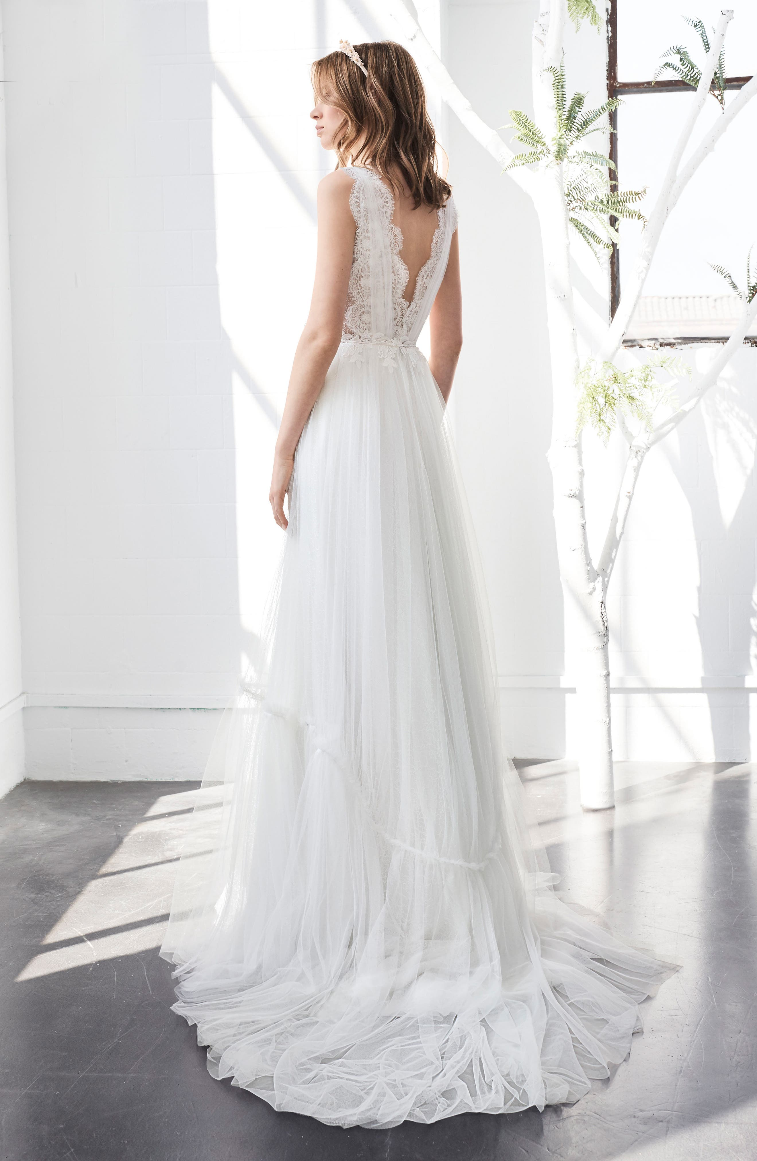 Inmaculada García Larimar Lace & Tulle A-Line Gown,                             Alternate thumbnail 2, color,                             Ivory