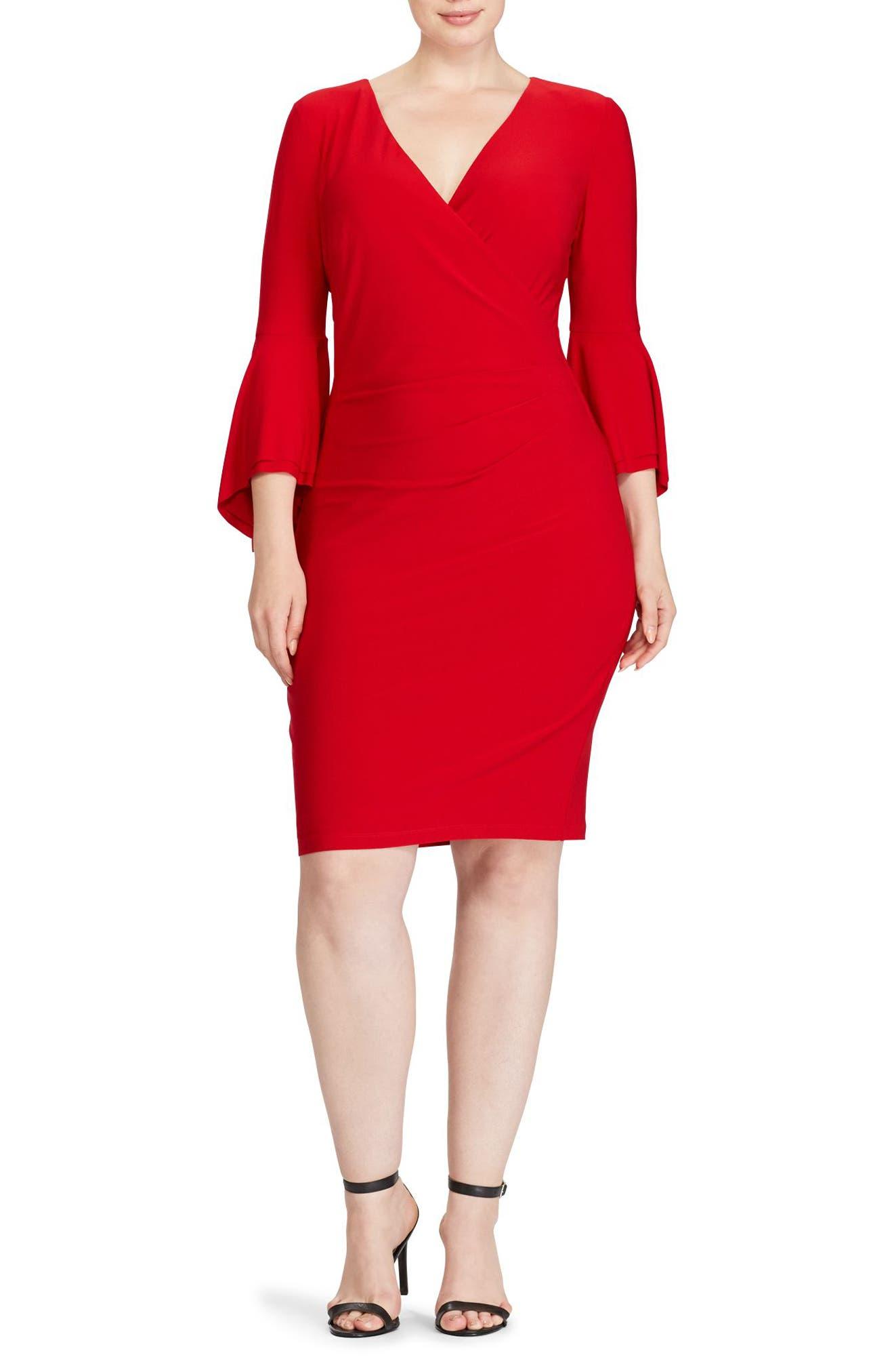 Lauren Ralph Lauren Bell Sleeve Faux Wrap Dress (Plus Size)