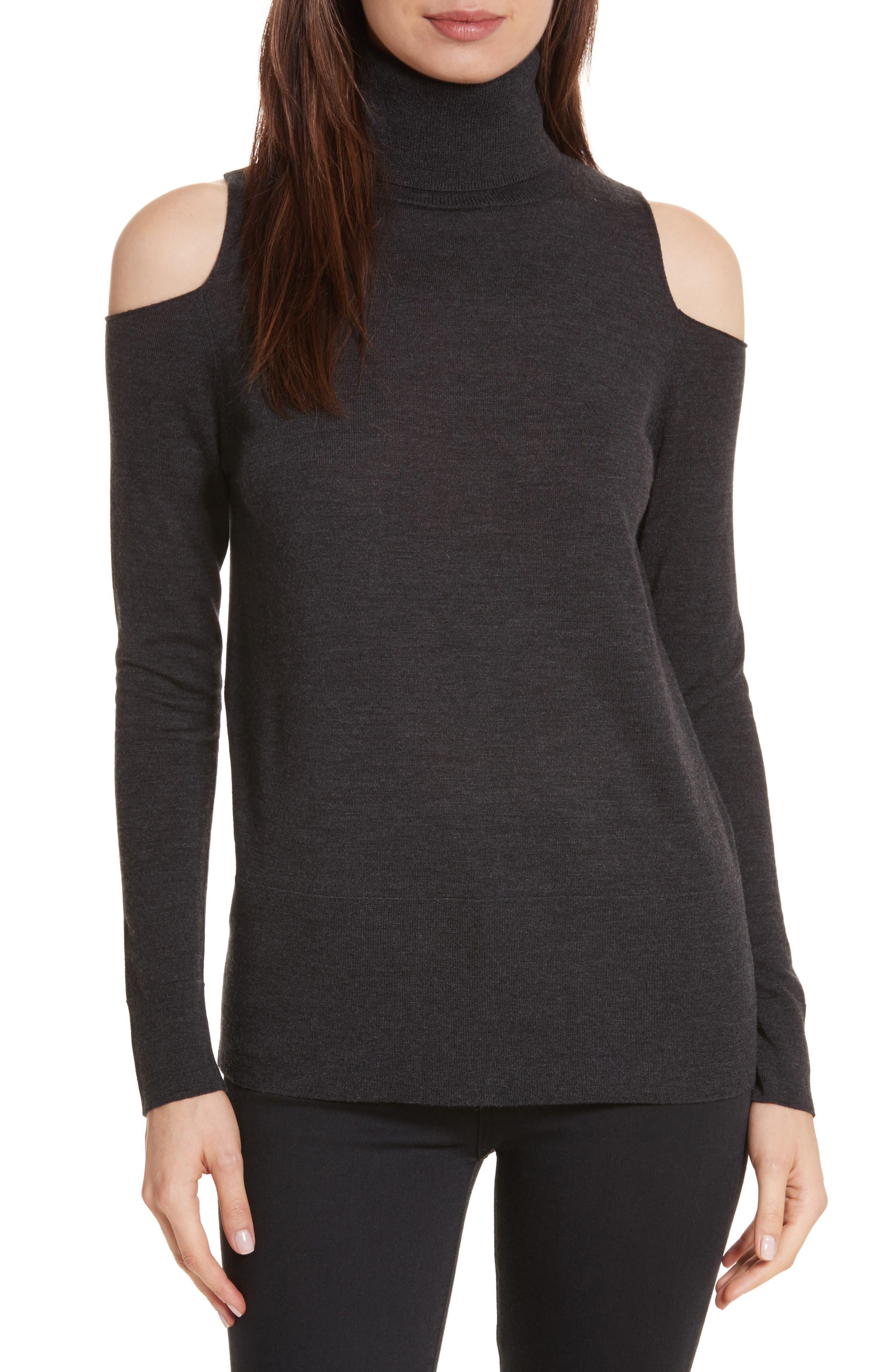 Merino Wool Cold Shoulder Turtleneck Sweater,                         Main,                         color, Charcoal