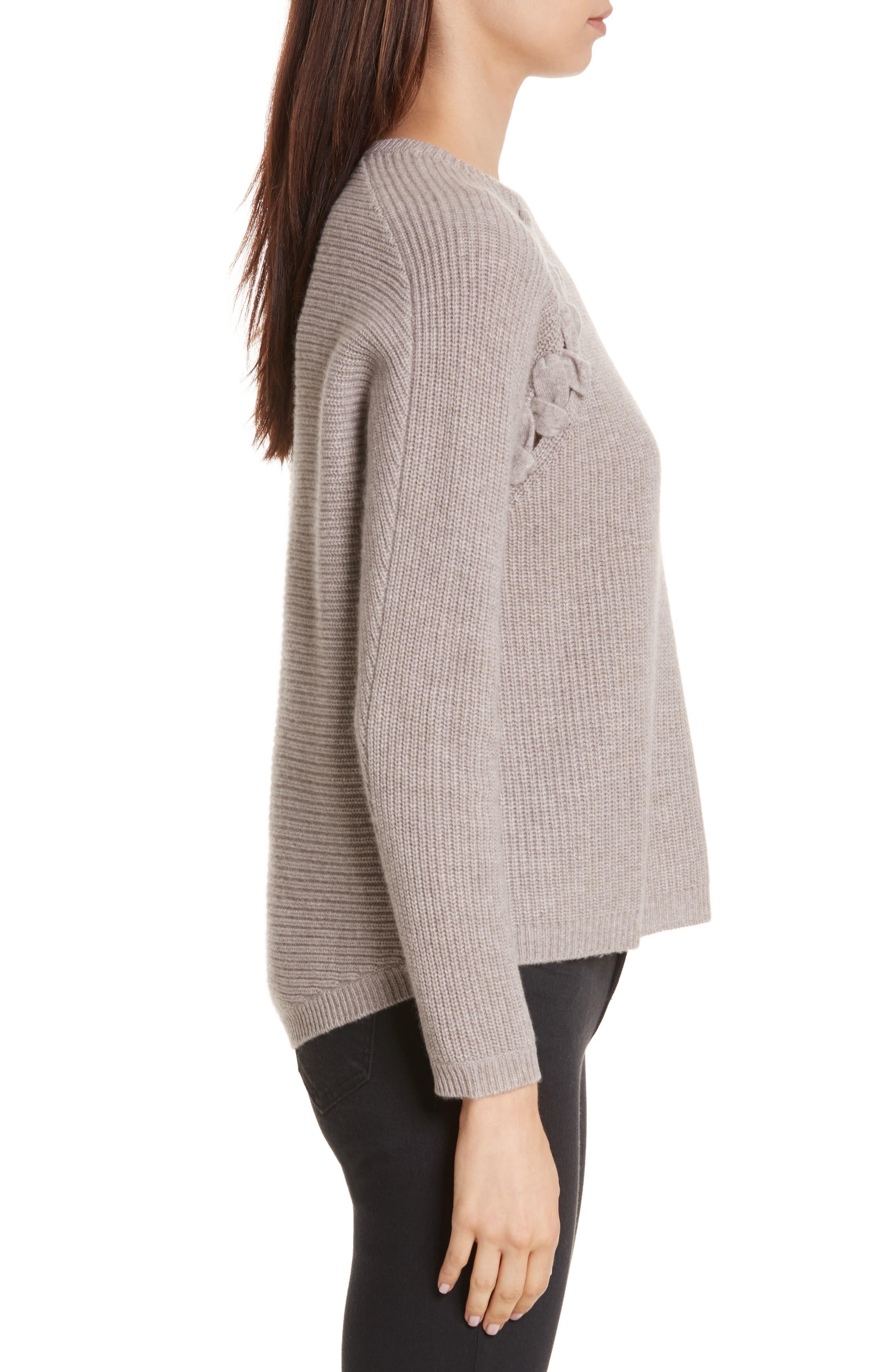 Alternate Image 3  - Allude Merino Wool & Cashmere Braid Detail Sweater