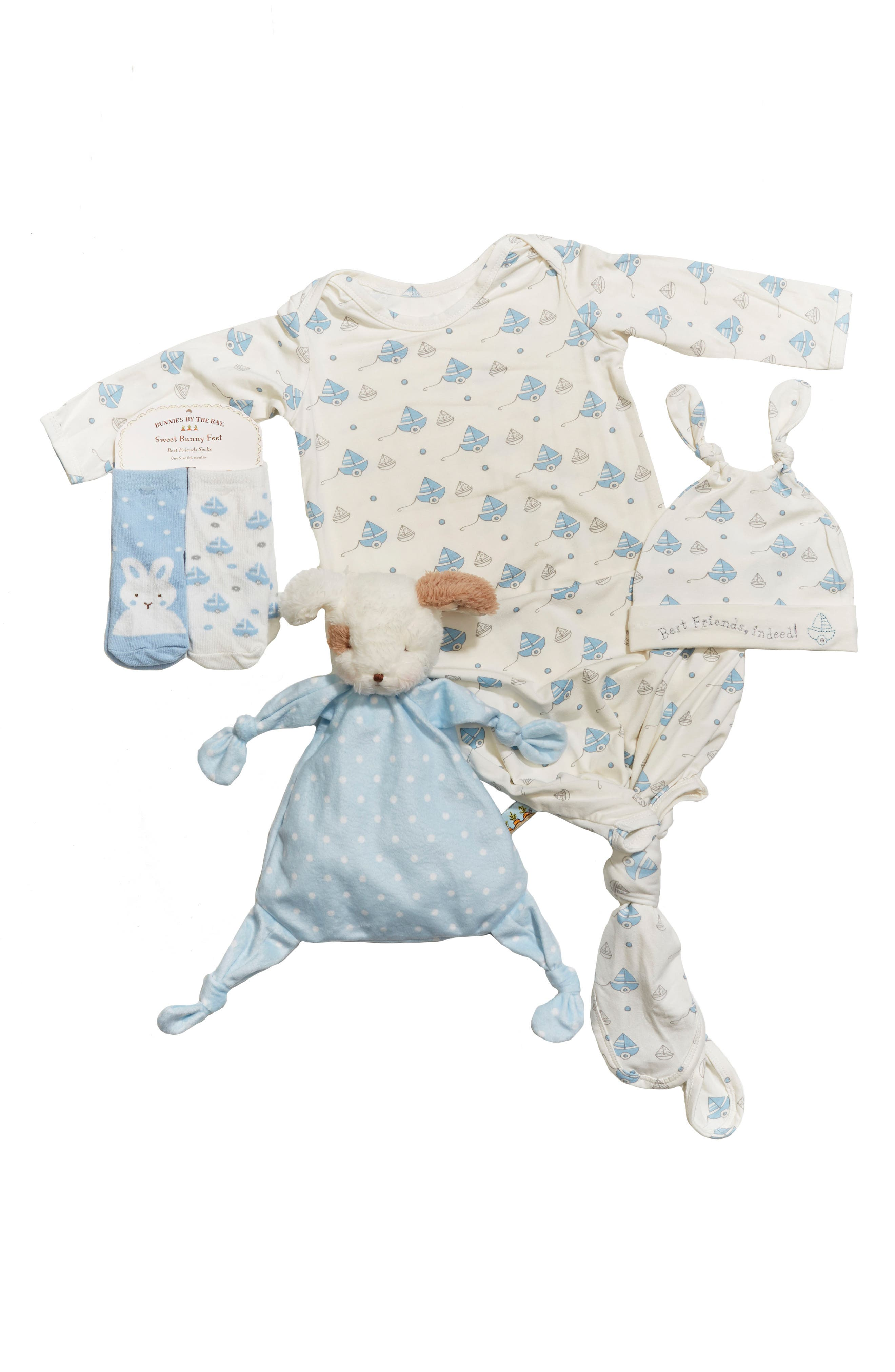 Main Image - Bunnies By The Bay Gown, Hat, Socks & Lovey Set (Baby Boys)