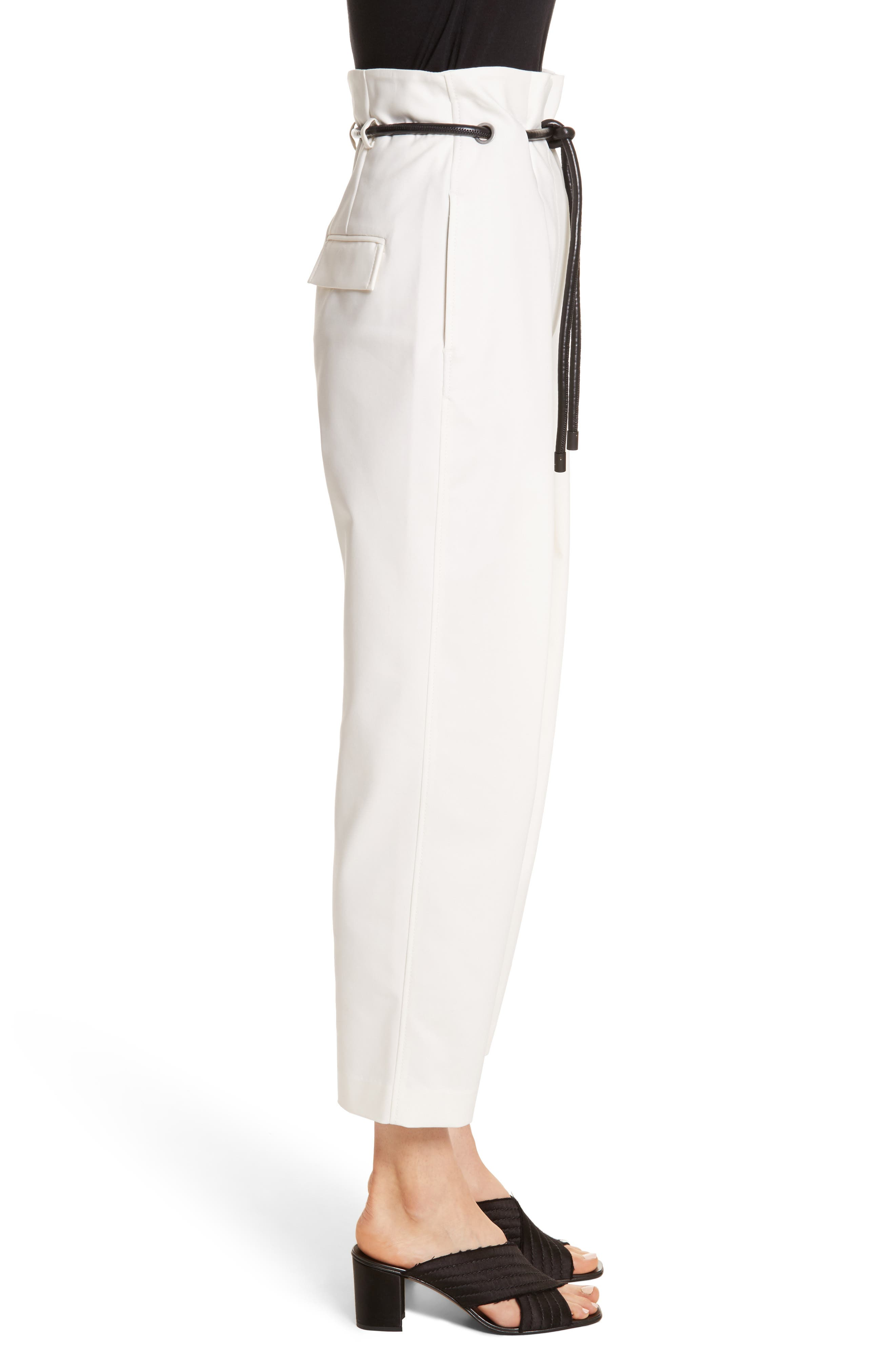 Origami Crop Flare Pants,                             Alternate thumbnail 3, color,                             White