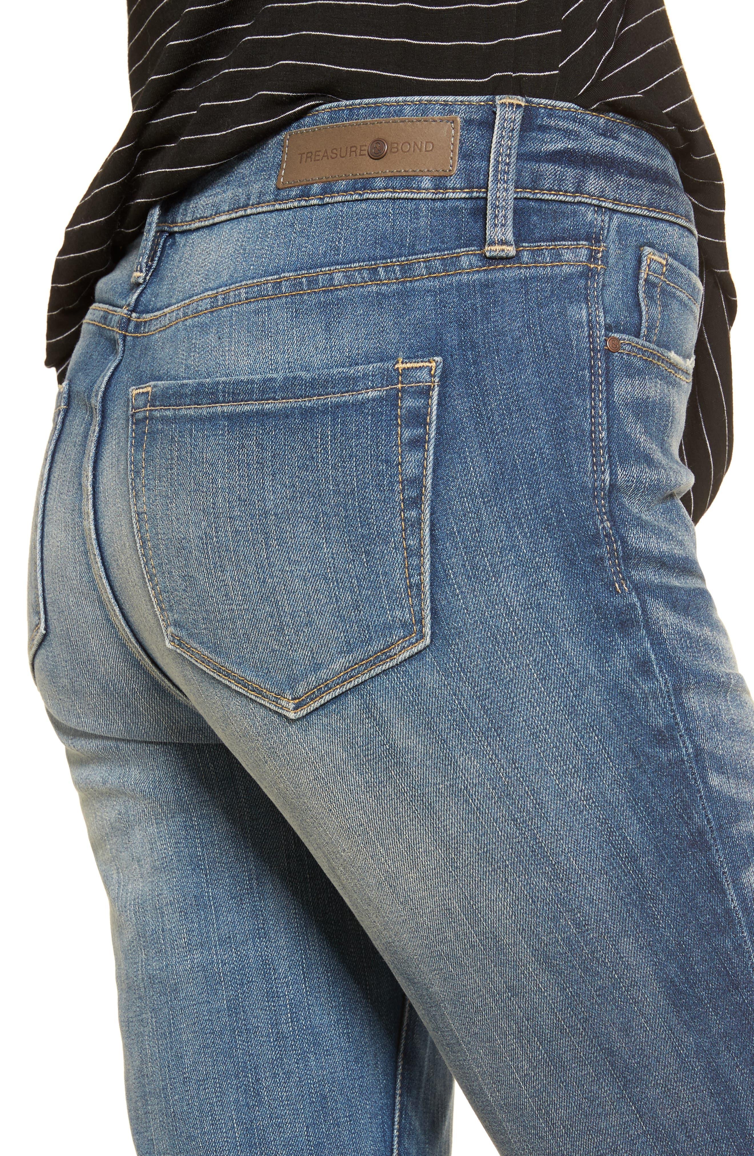High Waist Skinny Jeans,                             Alternate thumbnail 6, color,                             Rain Medium Worn
