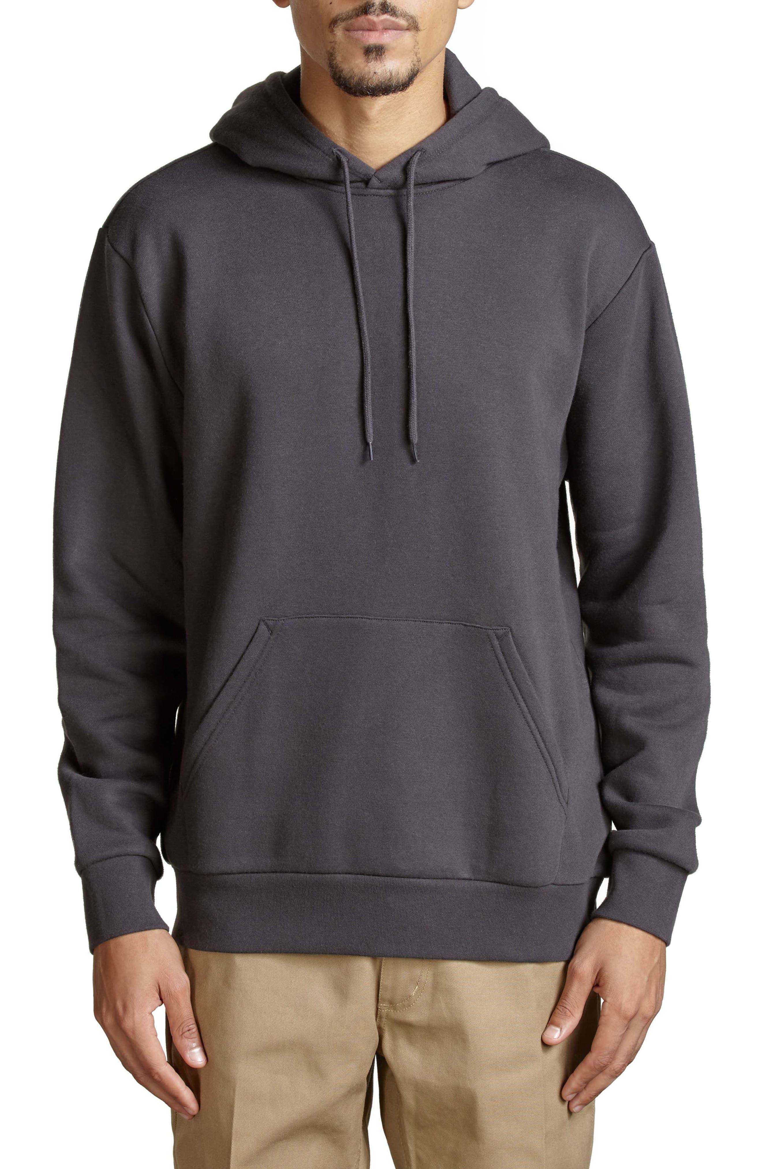 Basic Fleece Hoodie,                         Main,                         color, Washed Black