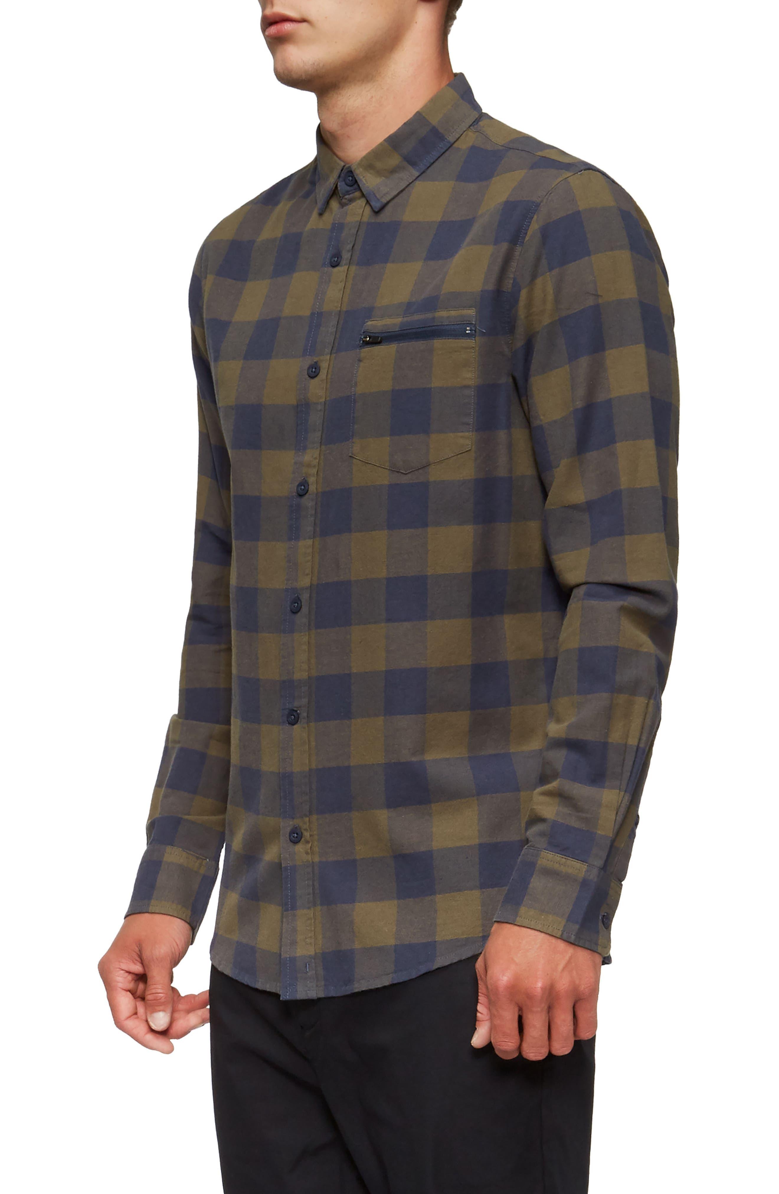 Cohen Long-Sleeve Shirt,                             Alternate thumbnail 3, color,                             Shadow Blue/ Olive